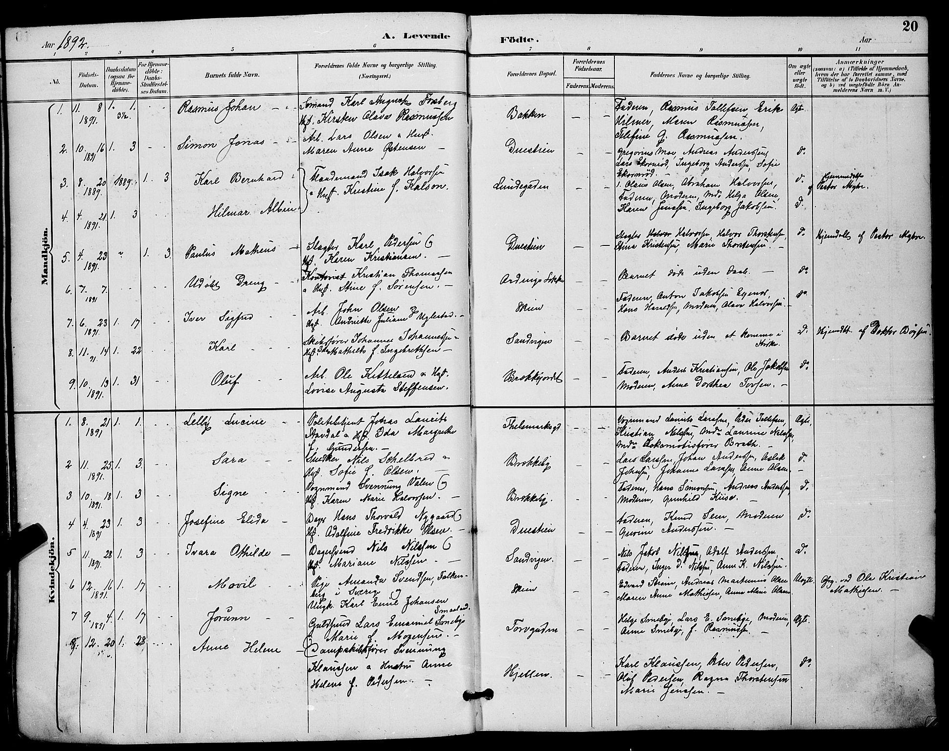 SAKO, Skien kirkebøker, G/Ga/L0007: Klokkerbok nr. 7, 1891-1900, s. 20