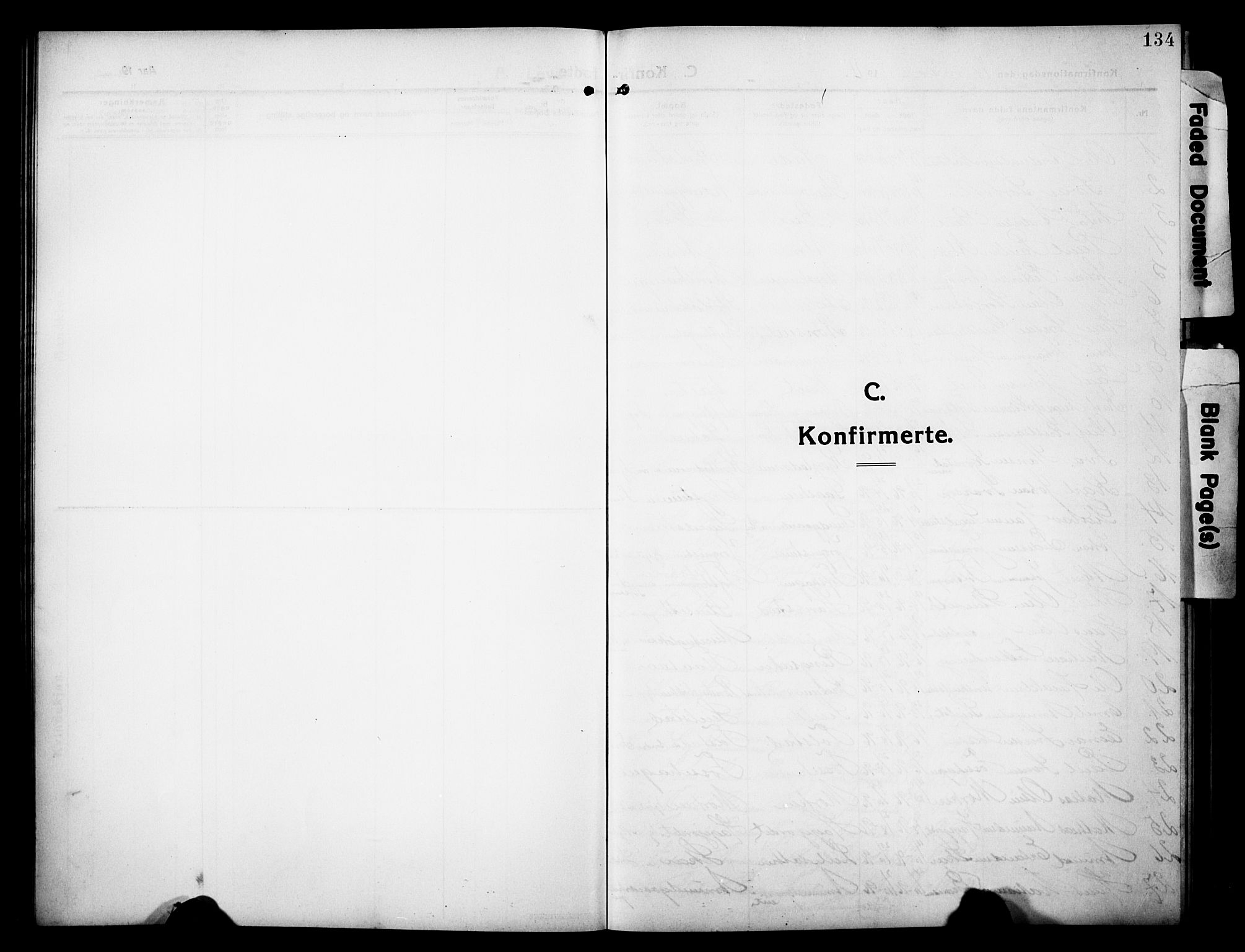 SAH, Sør-Fron prestekontor, H/Ha/Hab/L0005: Klokkerbok nr. 5, 1912-1930, s. 134