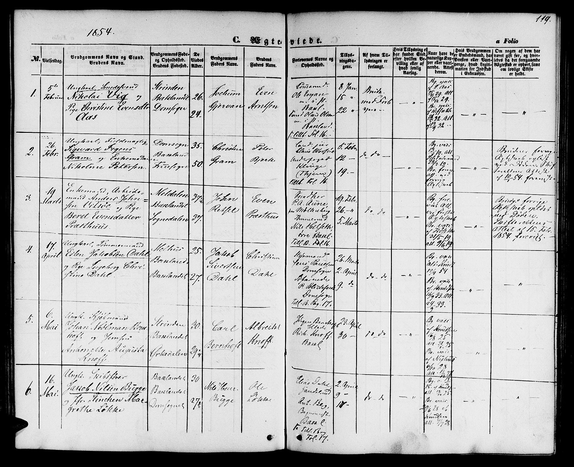SAT, Ministerialprotokoller, klokkerbøker og fødselsregistre - Sør-Trøndelag, 604/L0184: Ministerialbok nr. 604A05, 1851-1860, s. 119