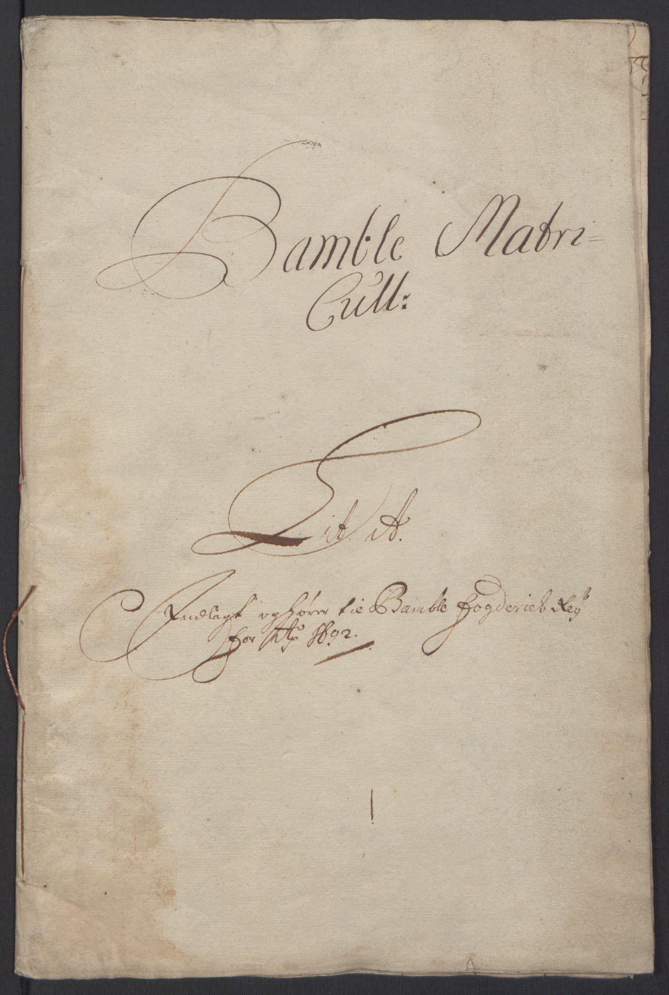 RA, Rentekammeret inntil 1814, Reviderte regnskaper, Fogderegnskap, R34/L2052: Fogderegnskap Bamble, 1692-1693, s. 9