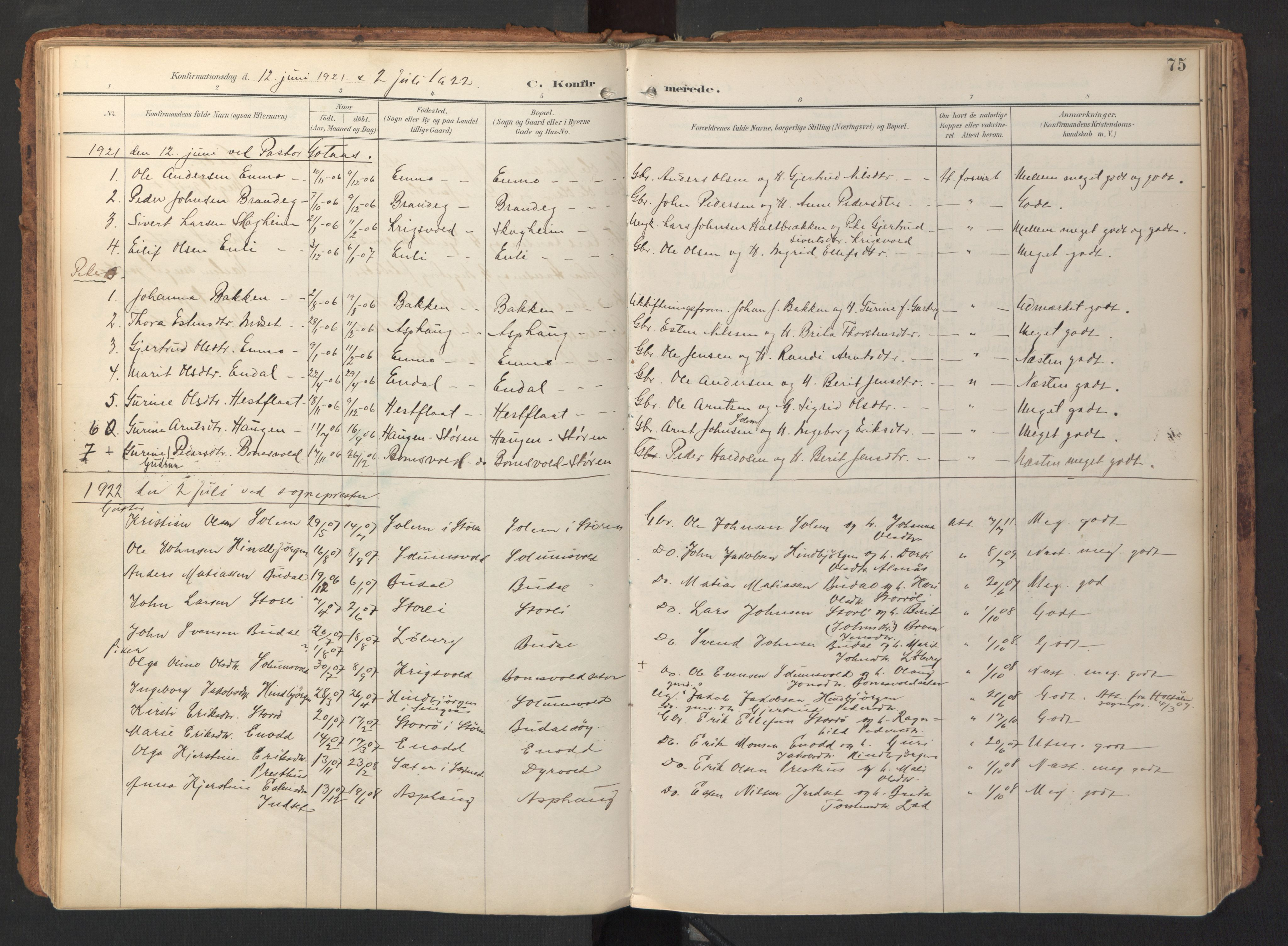 SAT, Ministerialprotokoller, klokkerbøker og fødselsregistre - Sør-Trøndelag, 690/L1050: Ministerialbok nr. 690A01, 1889-1929, s. 75
