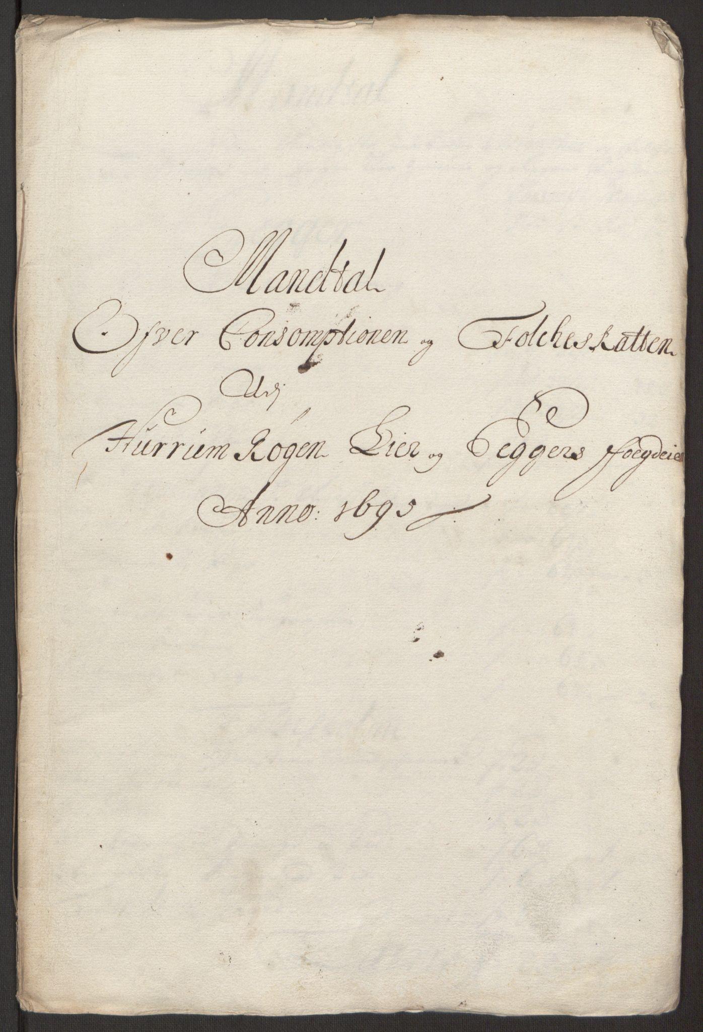 RA, Rentekammeret inntil 1814, Reviderte regnskaper, Fogderegnskap, R30/L1694: Fogderegnskap Hurum, Røyken, Eiker og Lier, 1694-1696, s. 283