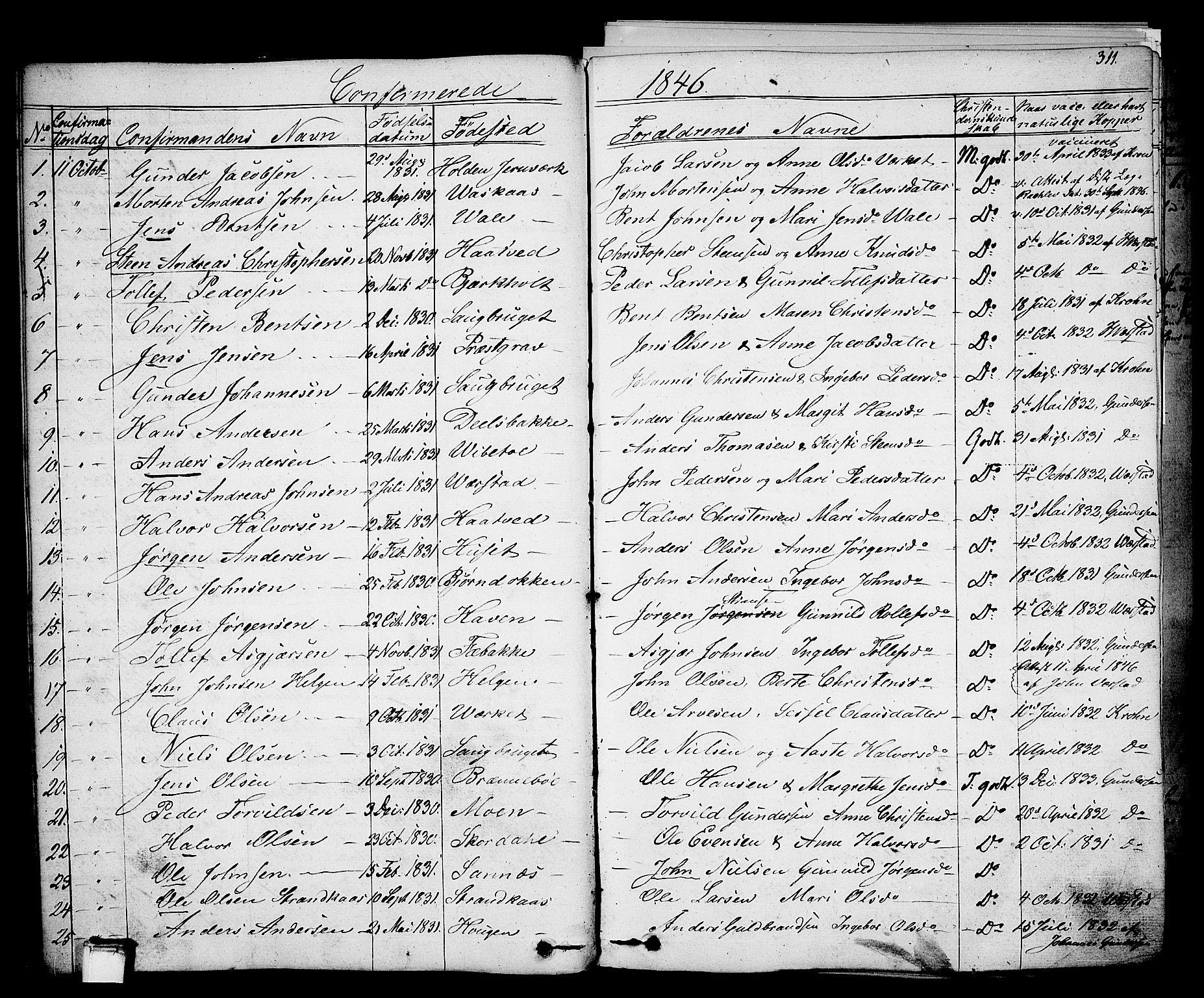 SAKO, Holla kirkebøker, F/Fa/L0004: Ministerialbok nr. 4, 1830-1848, s. 311
