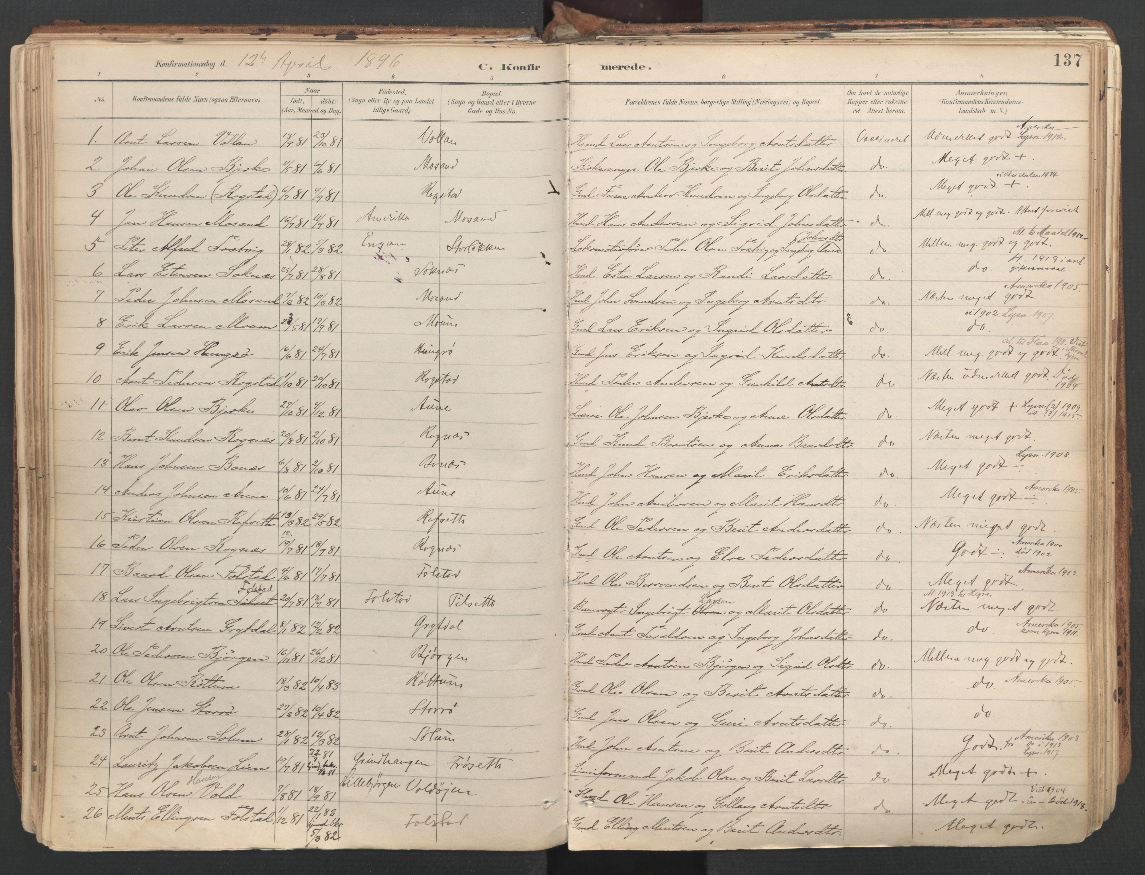 SAT, Ministerialprotokoller, klokkerbøker og fødselsregistre - Sør-Trøndelag, 687/L1004: Ministerialbok nr. 687A10, 1891-1923, s. 137