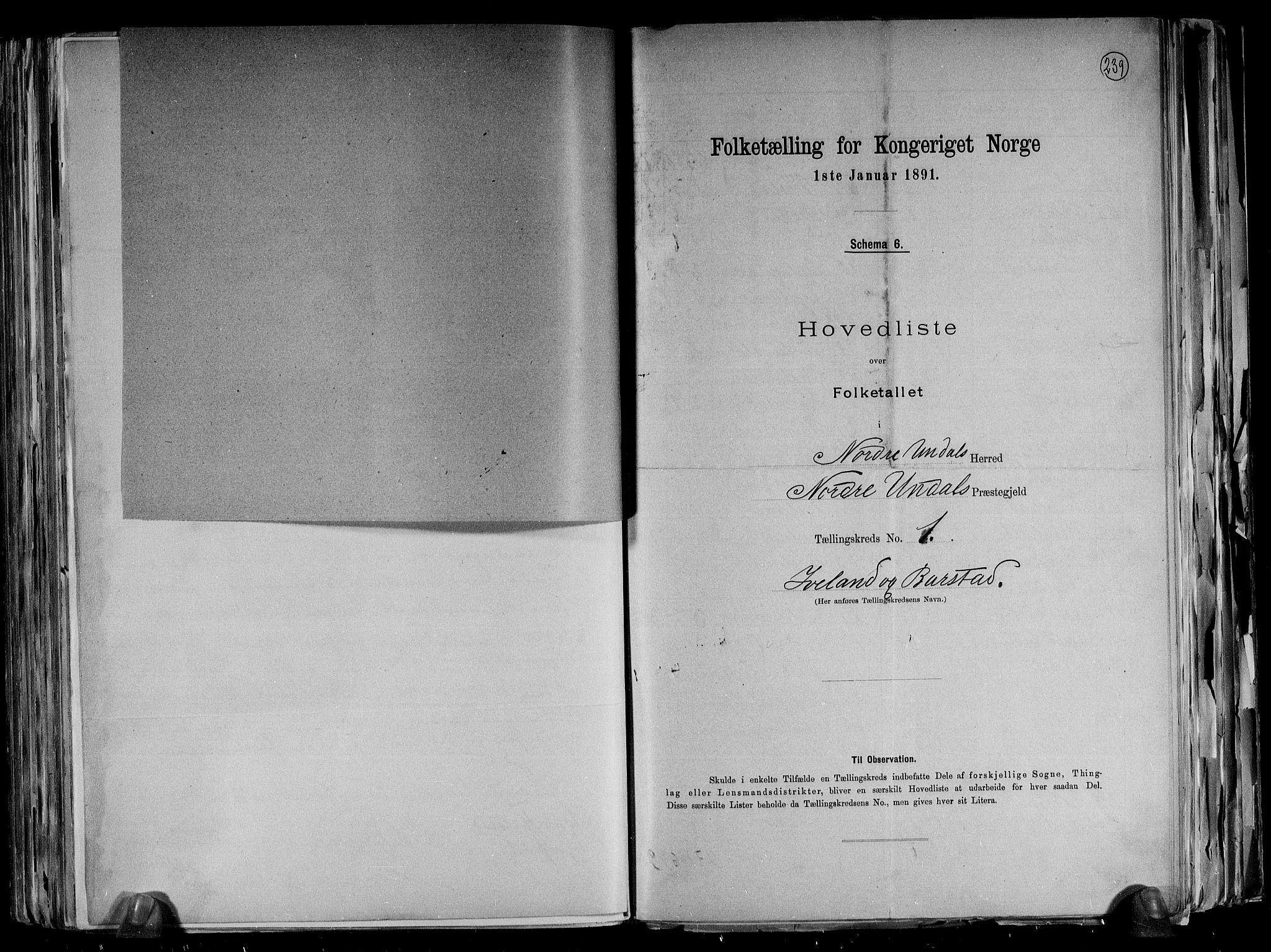 RA, Folketelling 1891 for 1028 Nord-Audnedal herred, 1891, s. 5