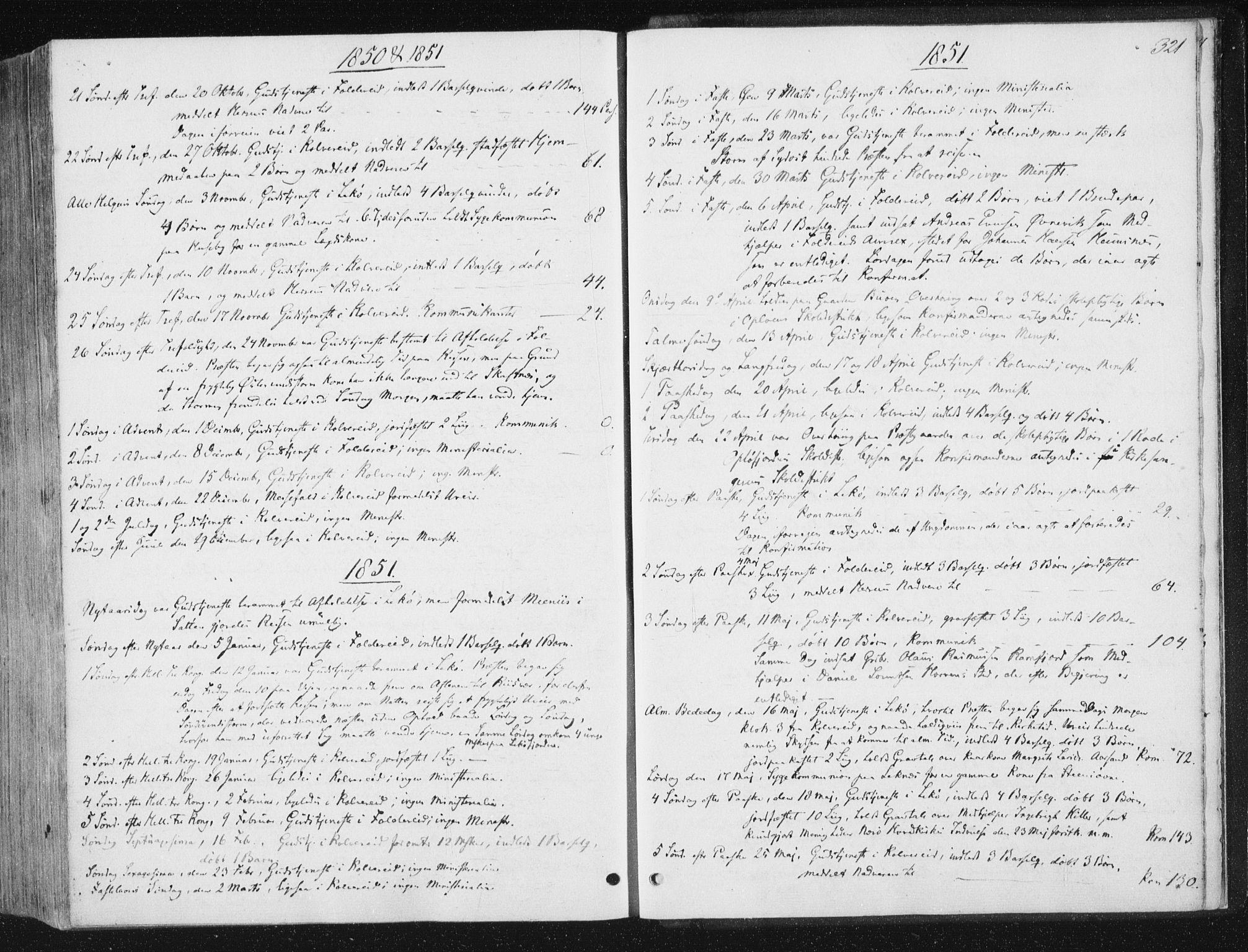 SAT, Ministerialprotokoller, klokkerbøker og fødselsregistre - Nord-Trøndelag, 780/L0640: Ministerialbok nr. 780A05, 1845-1856, s. 321