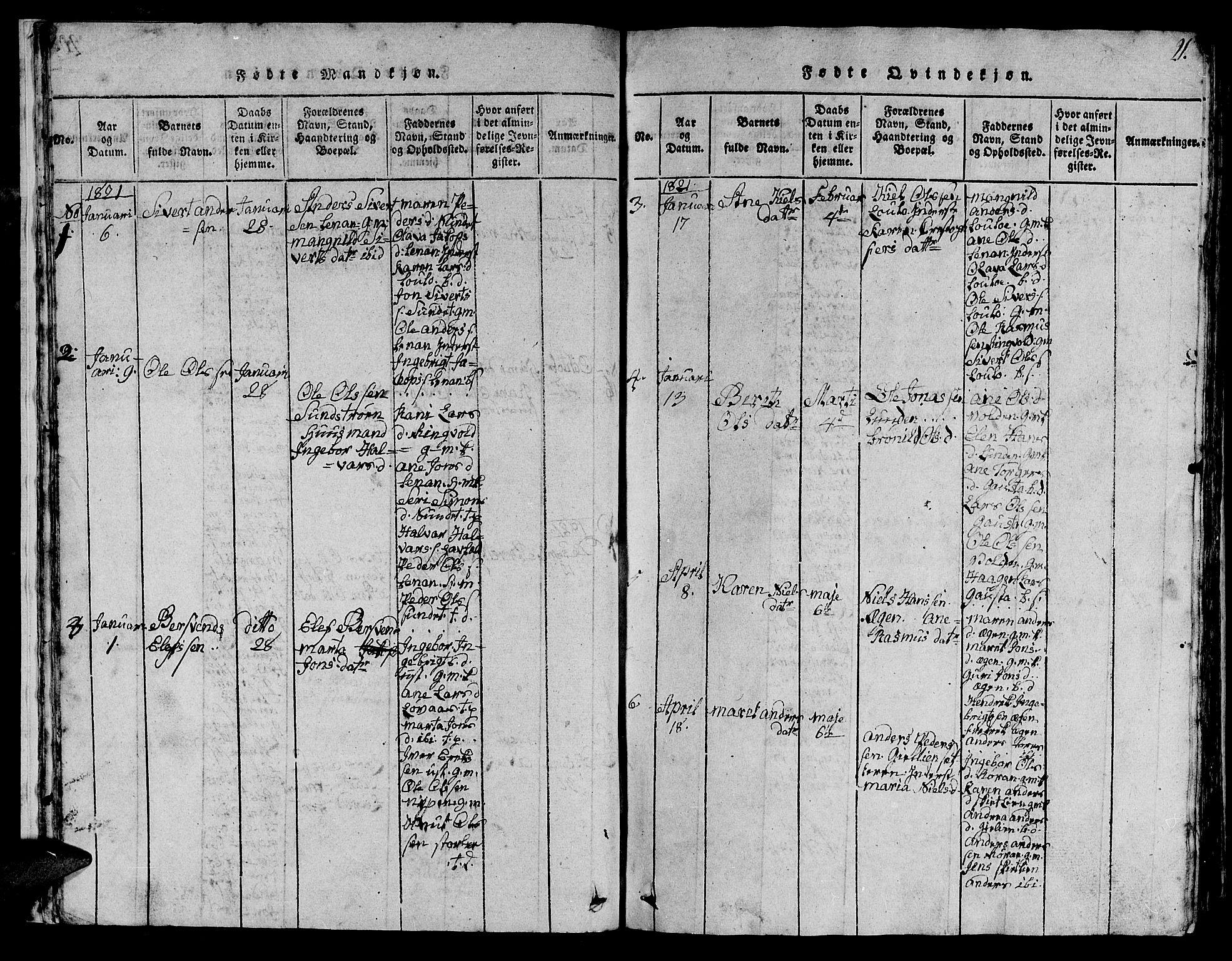 SAT, Ministerialprotokoller, klokkerbøker og fødselsregistre - Sør-Trøndelag, 613/L0393: Klokkerbok nr. 613C01, 1816-1886, s. 21