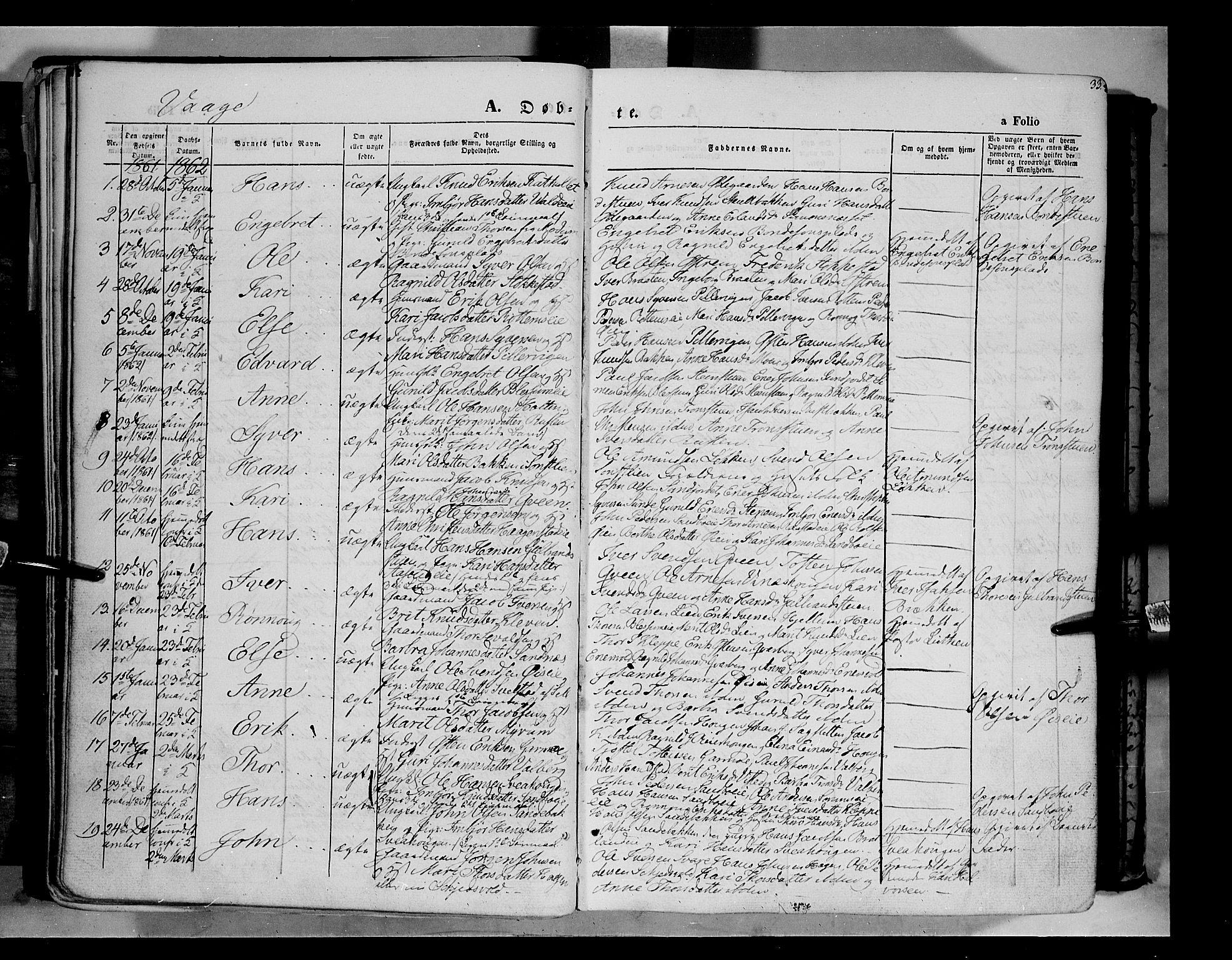 SAH, Vågå prestekontor, Ministerialbok nr. 6 /1, 1856-1872, s. 33