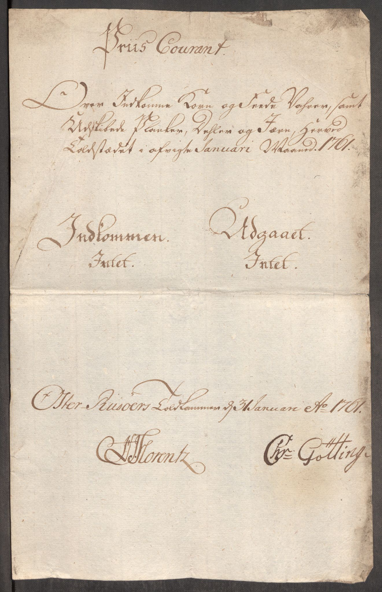 RA, Rentekammeret inntil 1814, Realistisk ordnet avdeling, Oe/L0007: [Ø1]: Priskuranter, 1761-1763, s. 218