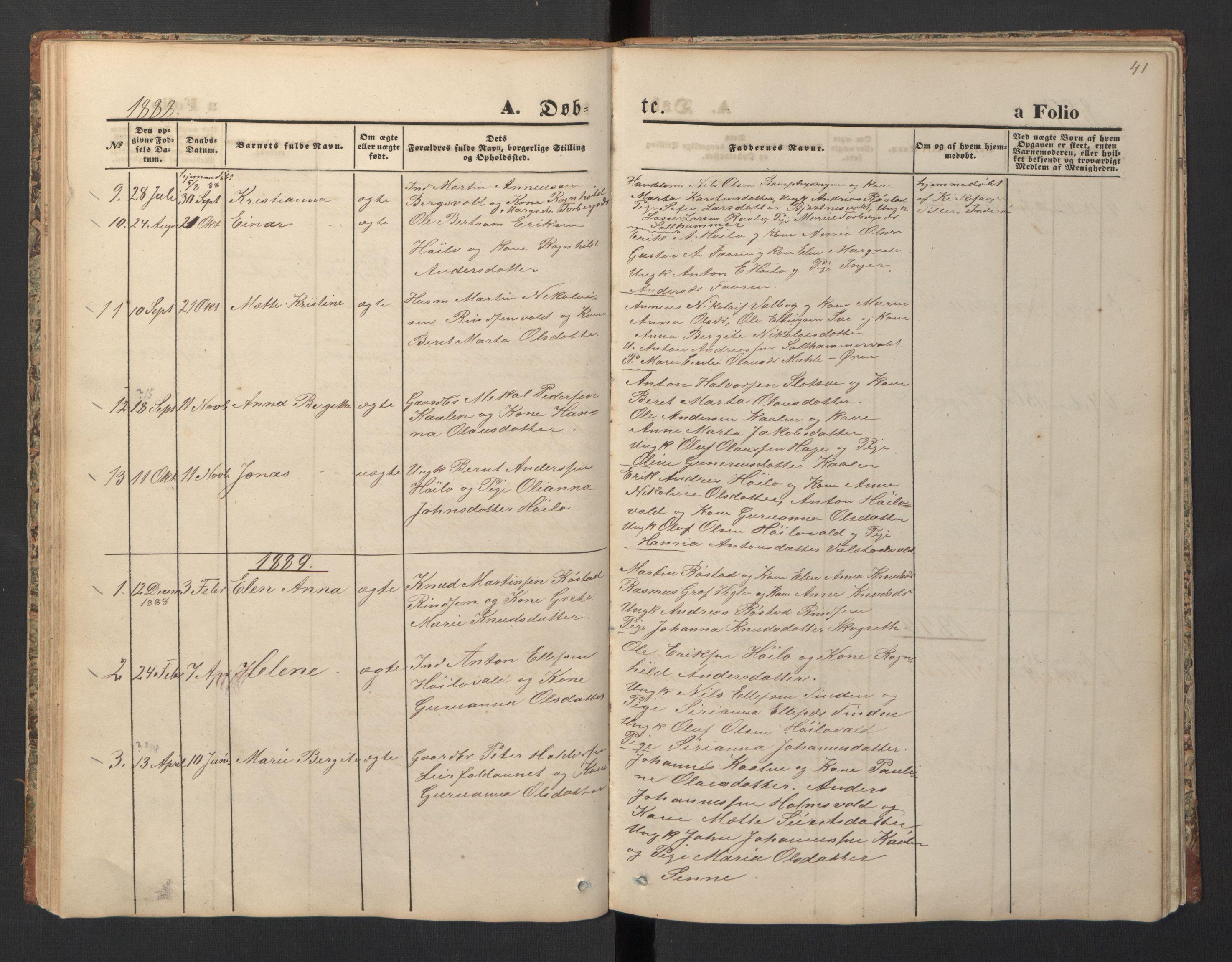 SAT, Ministerialprotokoller, klokkerbøker og fødselsregistre - Nord-Trøndelag, 726/L0271: Klokkerbok nr. 726C02, 1869-1897, s. 41