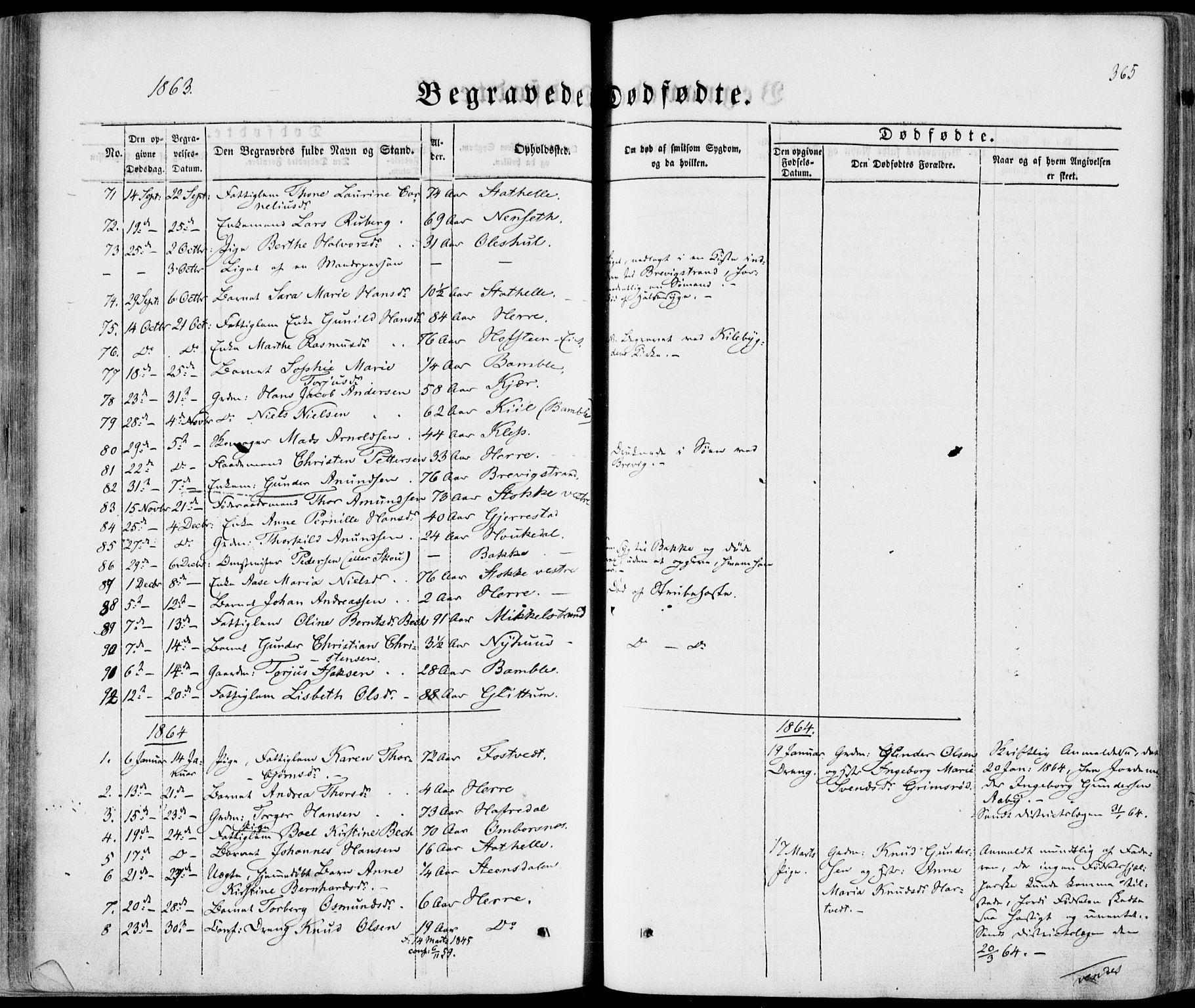 SAKO, Bamble kirkebøker, F/Fa/L0005: Ministerialbok nr. I 5, 1854-1869, s. 365