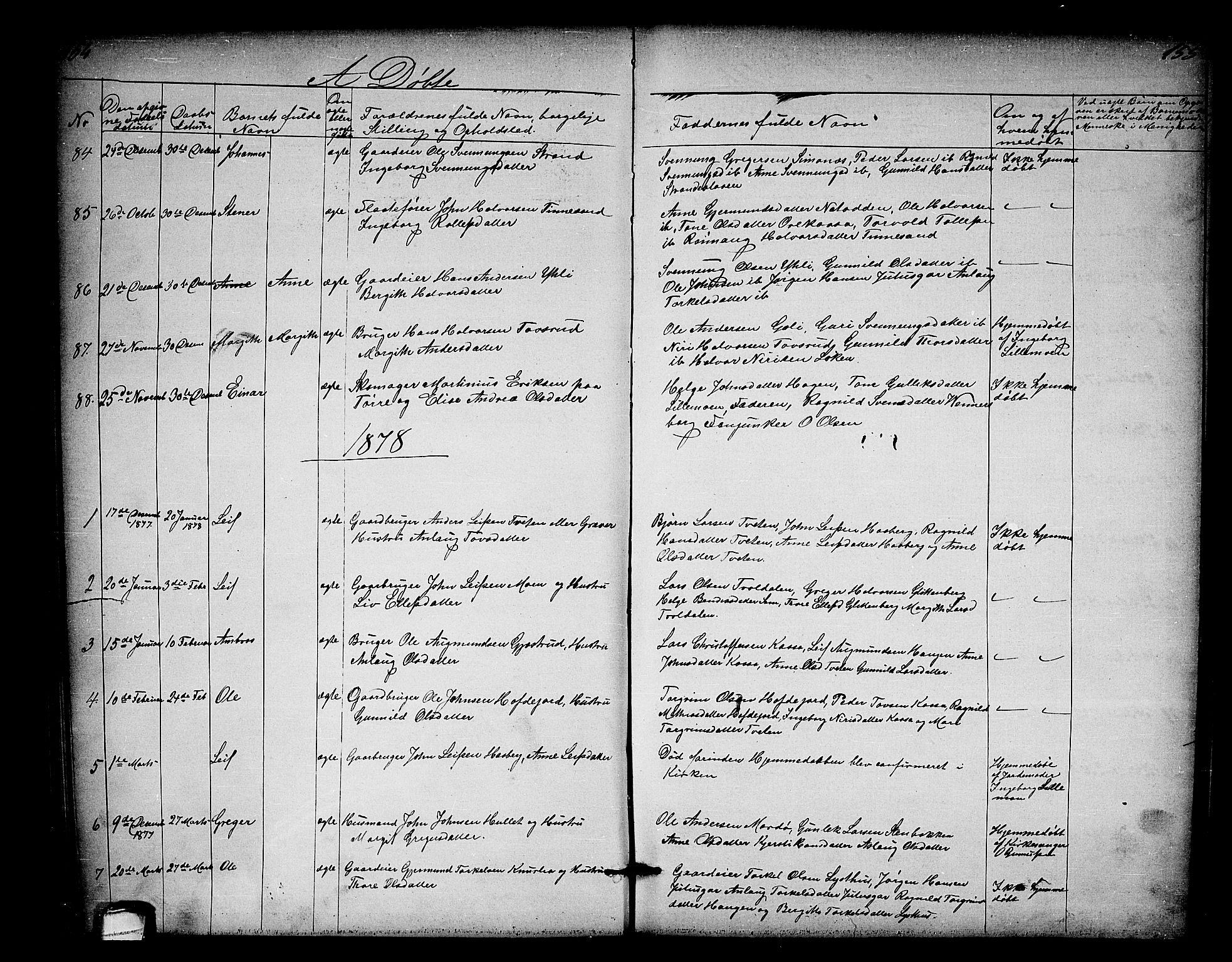 SAKO, Heddal kirkebøker, G/Ga/L0001: Klokkerbok nr. I 1, 1866-1878, s. 154-155