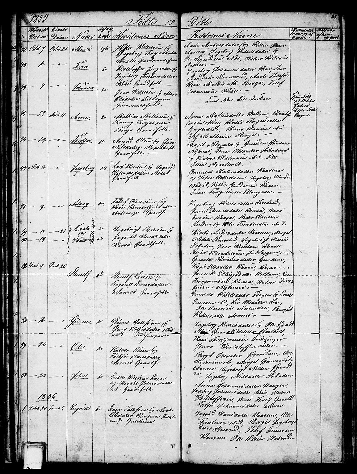 SAKO, Sauherad kirkebøker, G/Gb/L0001: Klokkerbok nr. II 1, 1845-1865, s. 35