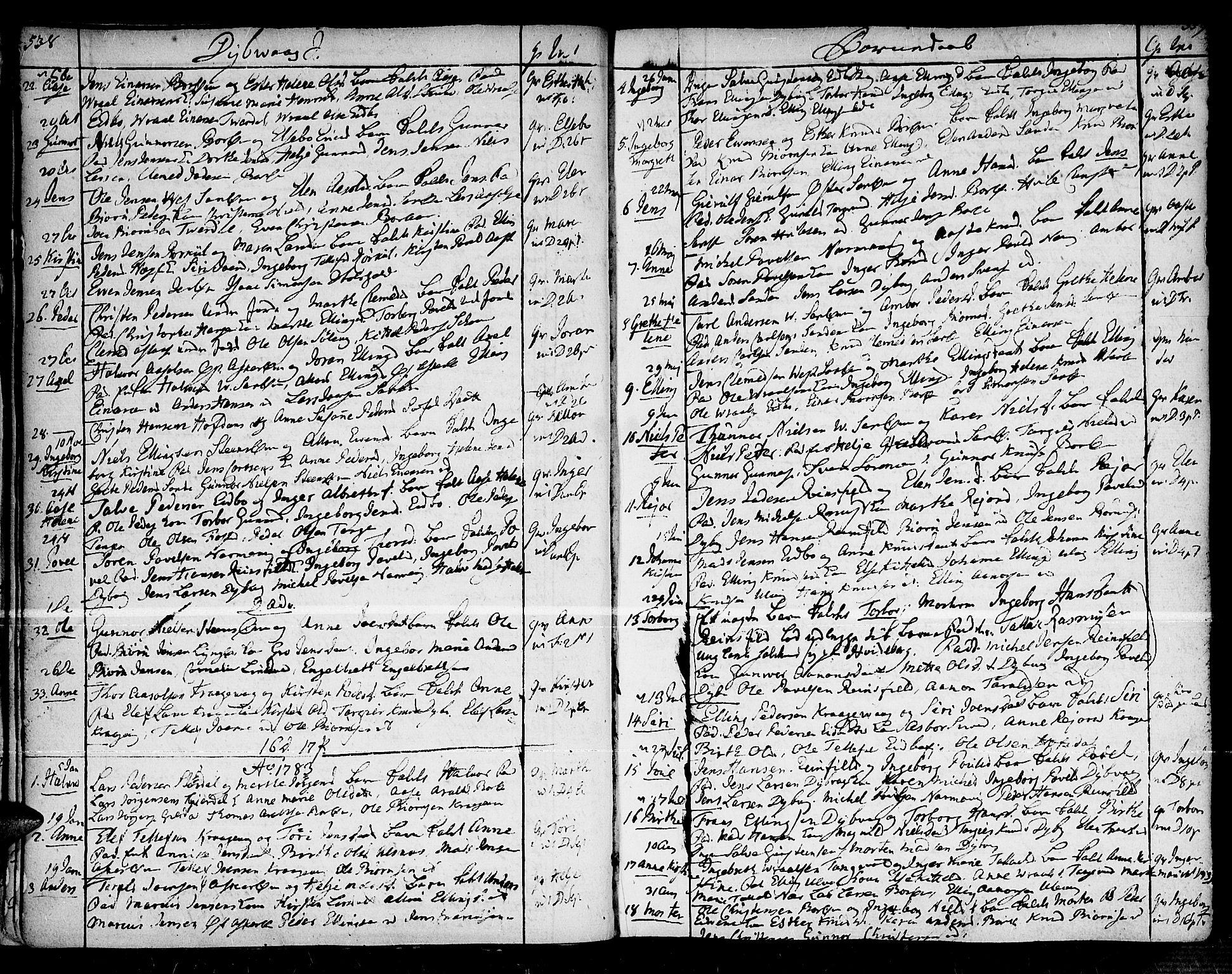 SAK, Dypvåg sokneprestkontor, F/Fa/Faa/L0001: Ministerialbok nr. A 1 /1, 1765-1798, s. 538-539