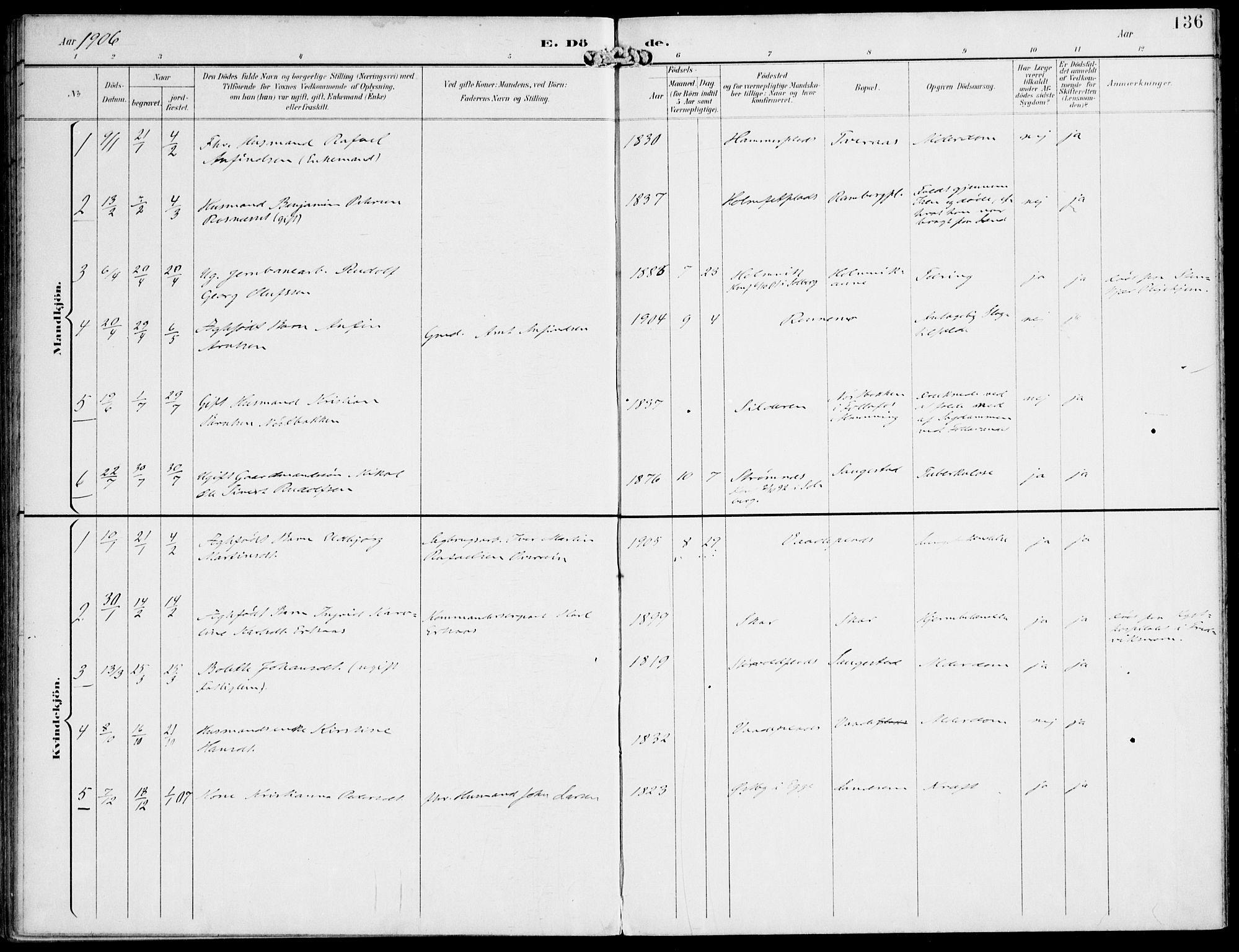 SAT, Ministerialprotokoller, klokkerbøker og fødselsregistre - Nord-Trøndelag, 745/L0430: Ministerialbok nr. 745A02, 1895-1913, s. 136