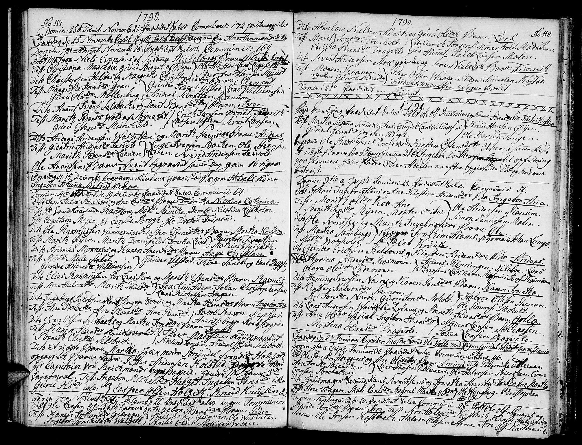 SAT, Ministerialprotokoller, klokkerbøker og fødselsregistre - Sør-Trøndelag, 604/L0180: Ministerialbok nr. 604A01, 1780-1797, s. 117-118