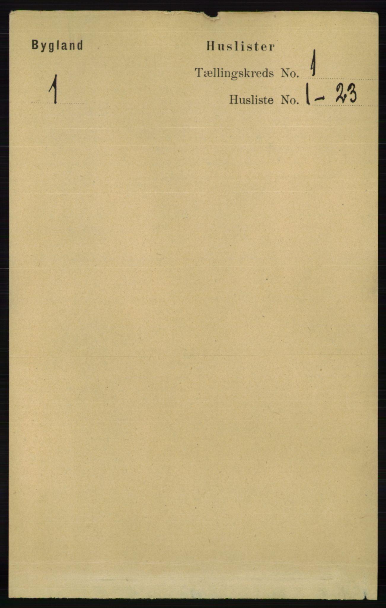 RA, Folketelling 1891 for 0938 Bygland herred, 1891, s. 27
