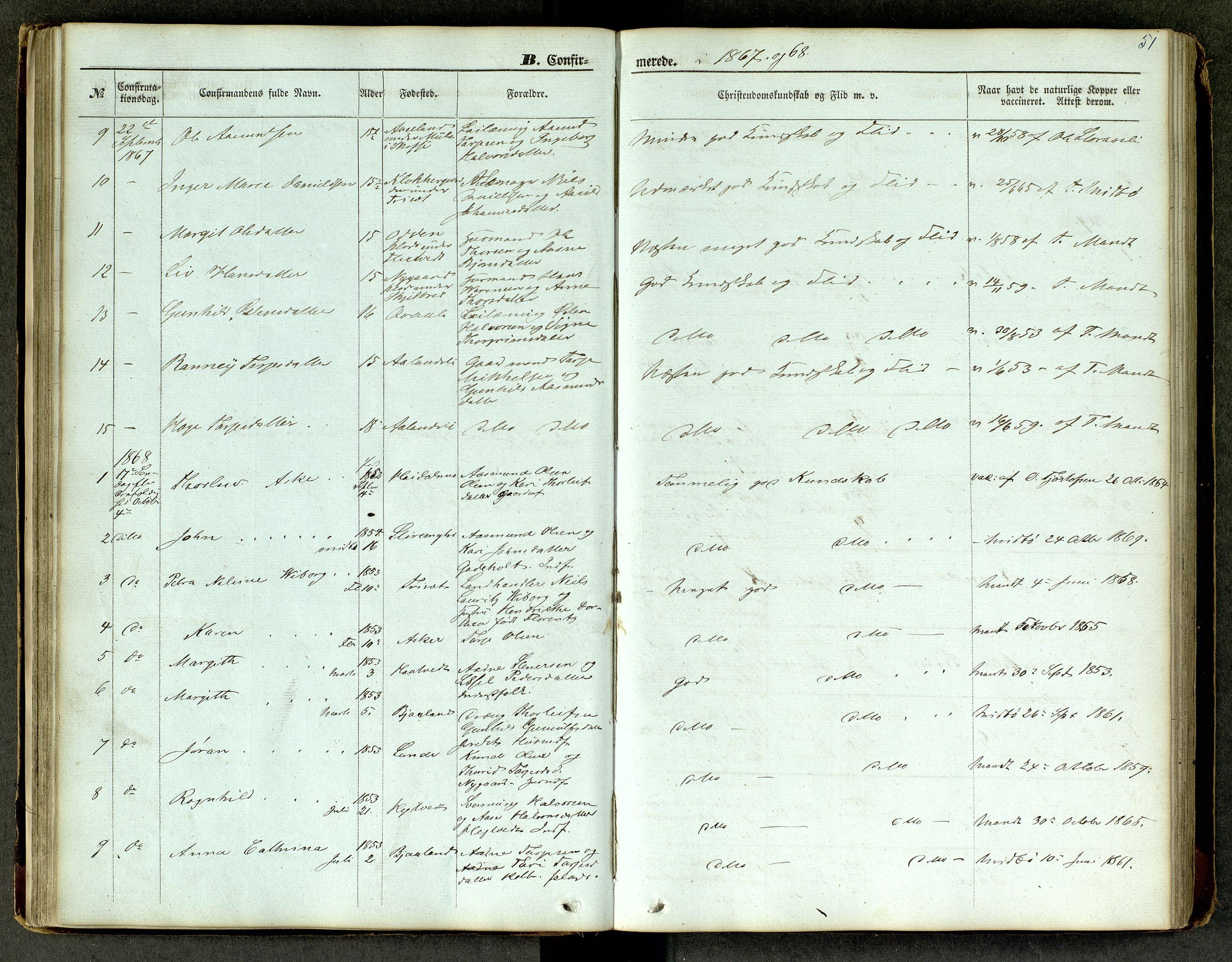 SAKO, Lårdal kirkebøker, G/Ga/L0002: Klokkerbok nr. I 2, 1861-1890, s. 51