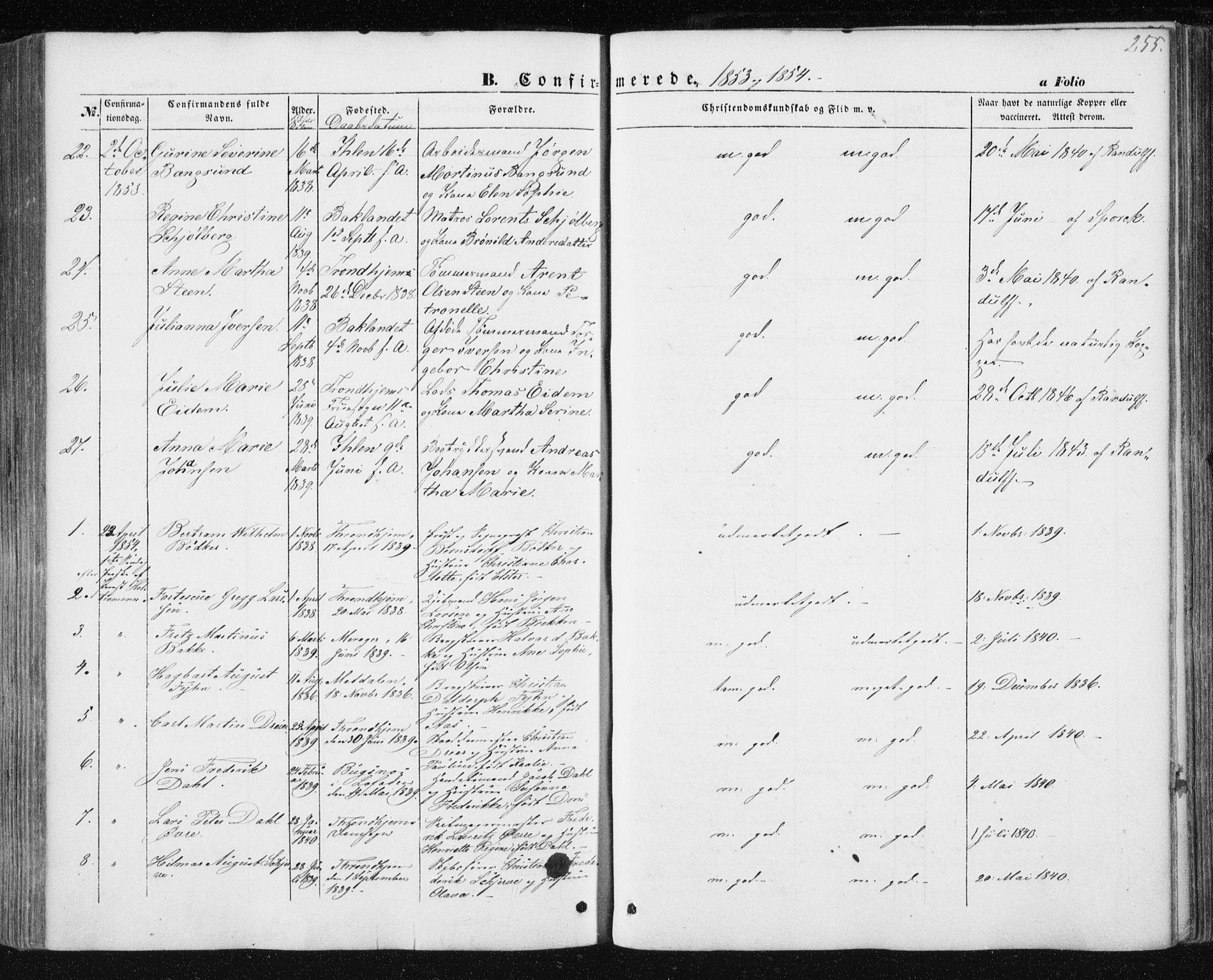 SAT, Ministerialprotokoller, klokkerbøker og fødselsregistre - Sør-Trøndelag, 602/L0112: Ministerialbok nr. 602A10, 1848-1859, s. 255