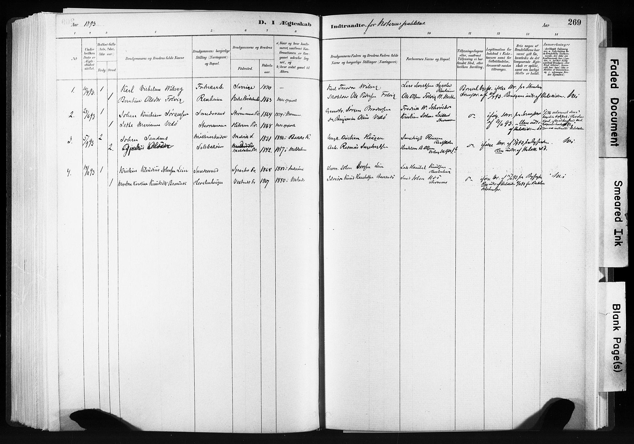 SAT, Ministerialprotokoller, klokkerbøker og fødselsregistre - Sør-Trøndelag, 606/L0300: Ministerialbok nr. 606A15, 1886-1893, s. 269
