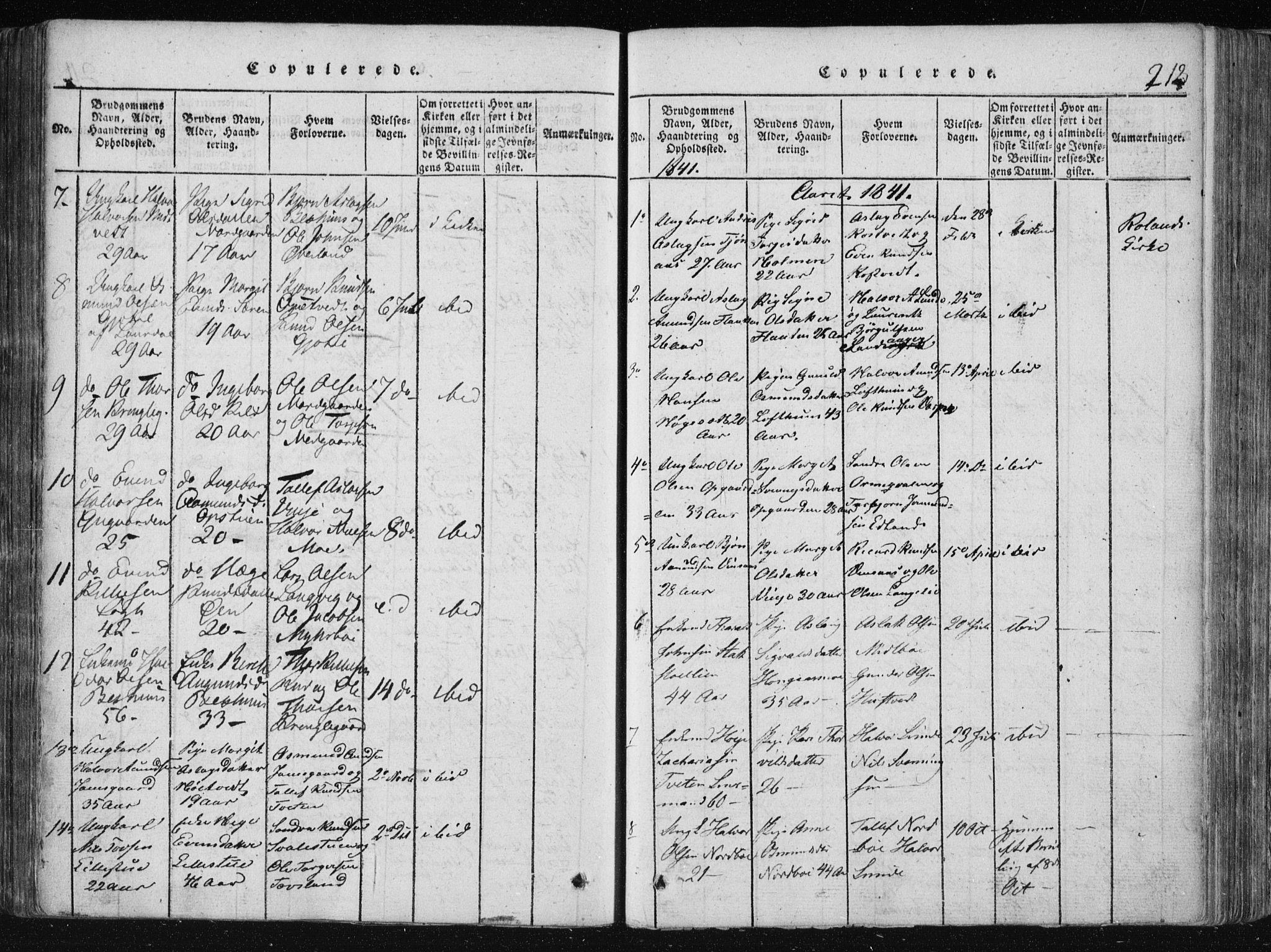 SAKO, Vinje kirkebøker, F/Fa/L0003: Ministerialbok nr. I 3, 1814-1843, s. 212