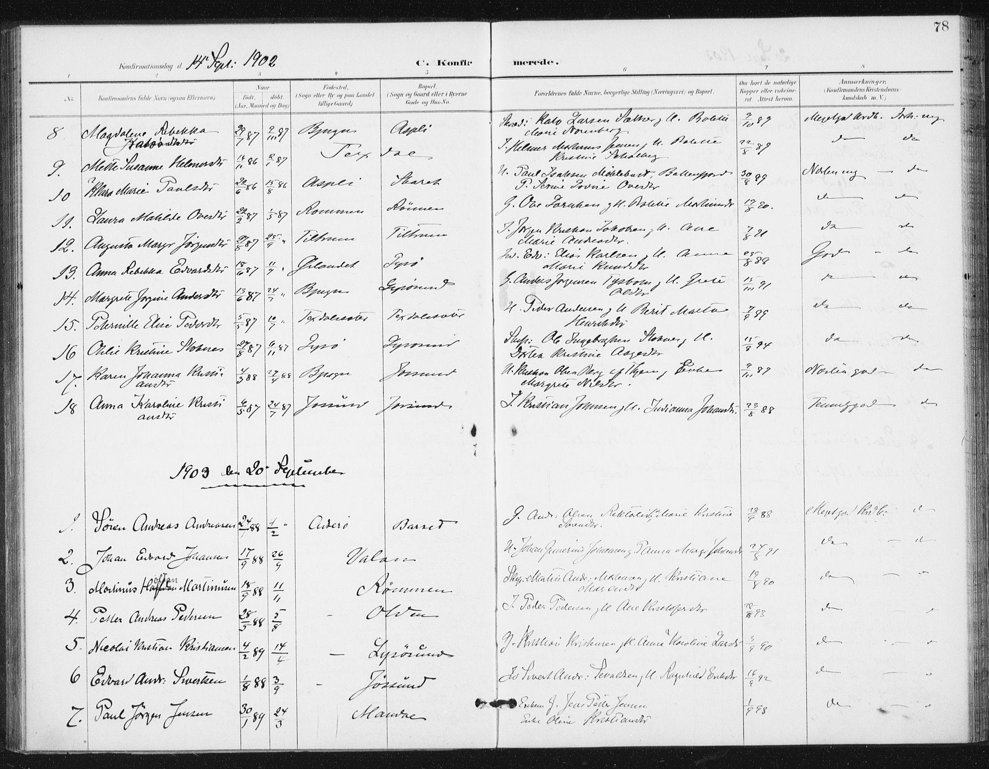 SAT, Ministerialprotokoller, klokkerbøker og fødselsregistre - Sør-Trøndelag, 654/L0664: Ministerialbok nr. 654A02, 1895-1907, s. 78
