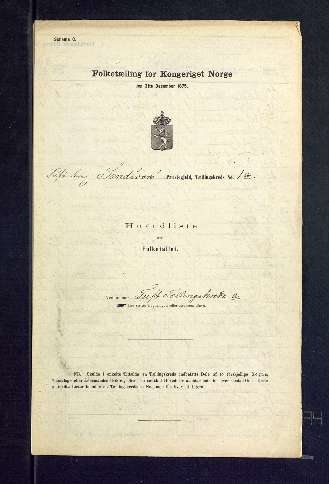 SAKO, Folketelling 1875 for 0629P Sandsvær prestegjeld, 1875, s. 2