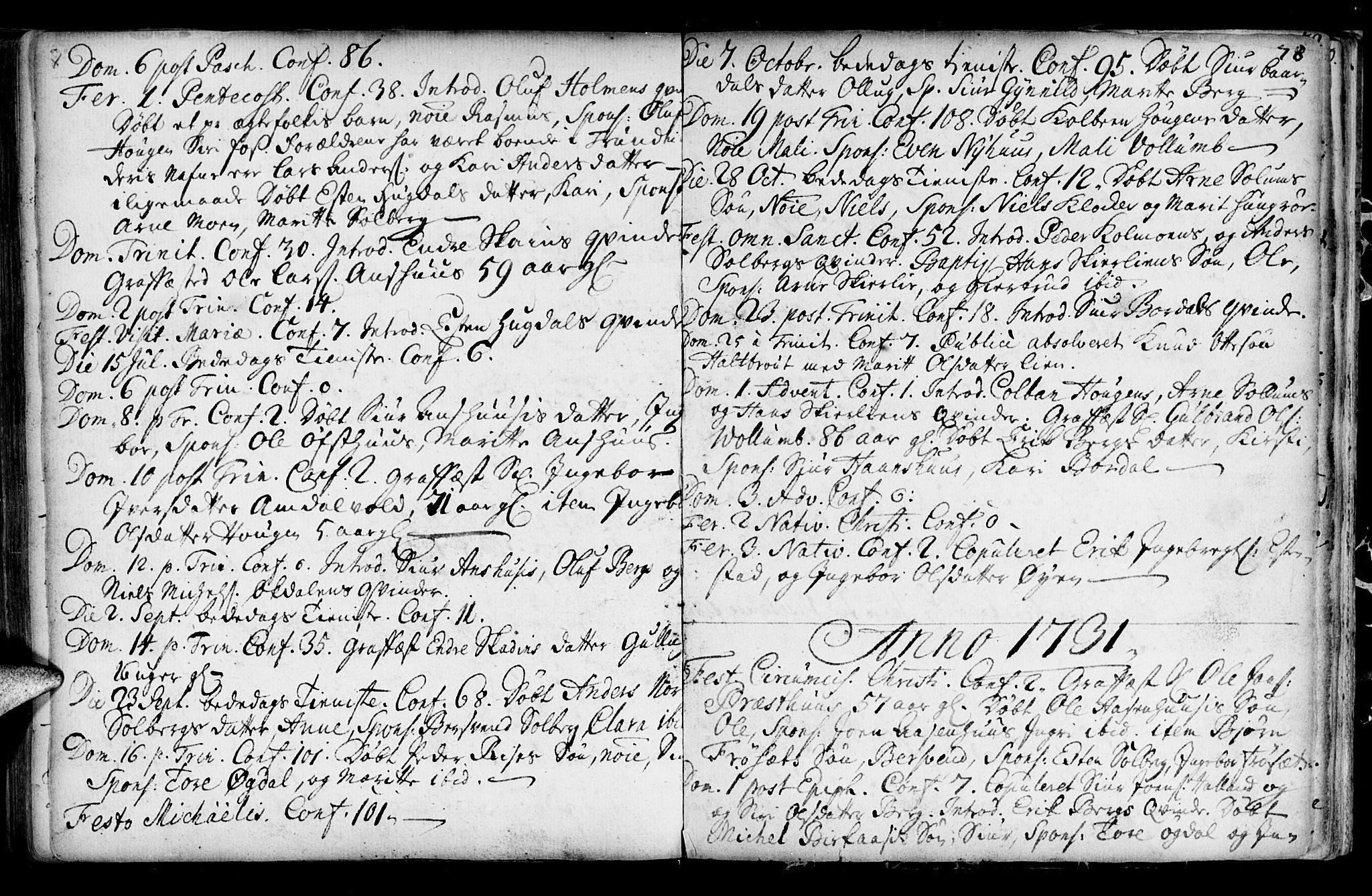 SAT, Ministerialprotokoller, klokkerbøker og fødselsregistre - Sør-Trøndelag, 689/L1036: Ministerialbok nr. 689A01, 1696-1746, s. 78