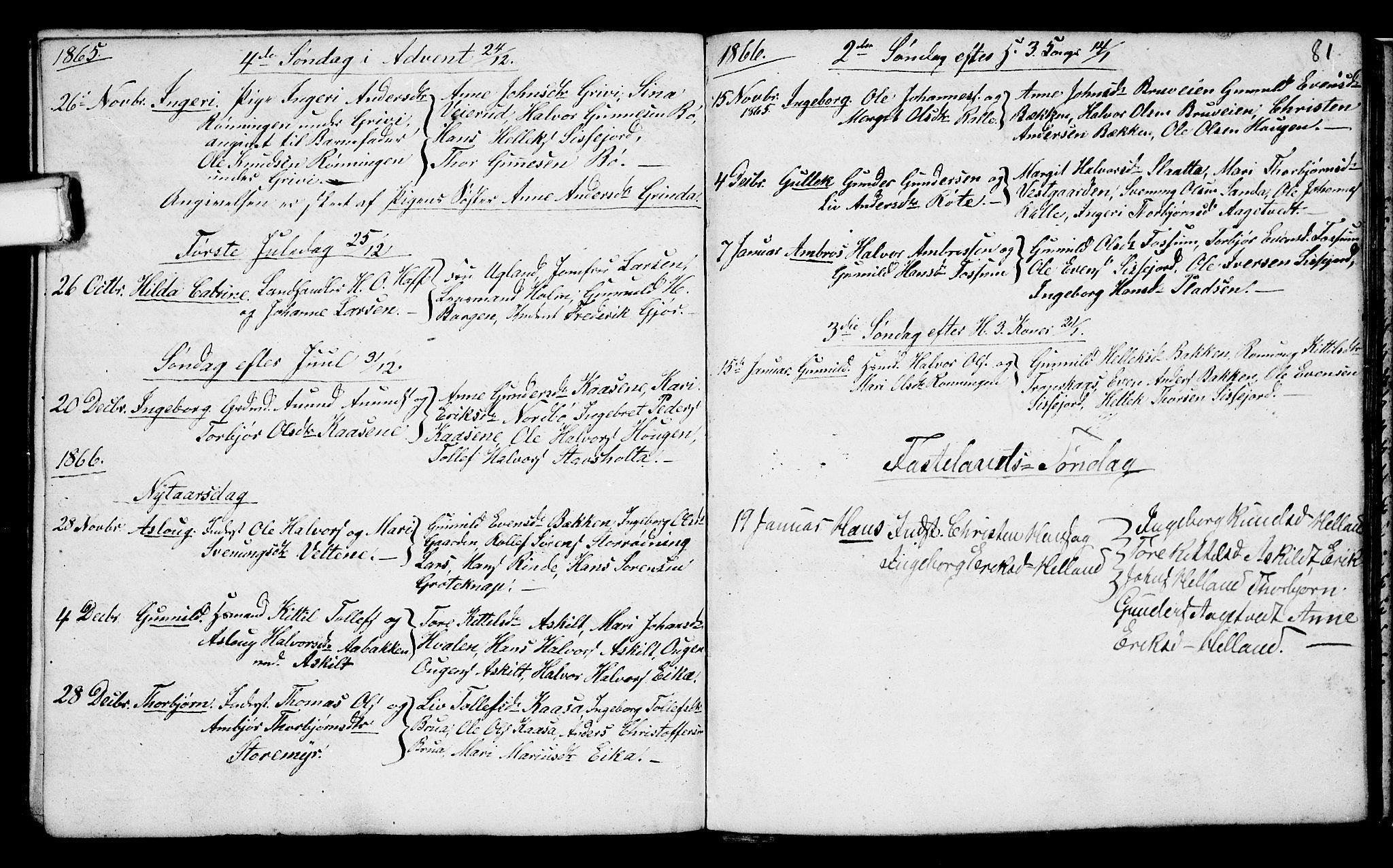 SAKO, Bø kirkebøker, G/Ga/L0002: Klokkerbok nr. 2, 1853-1866, s. 81