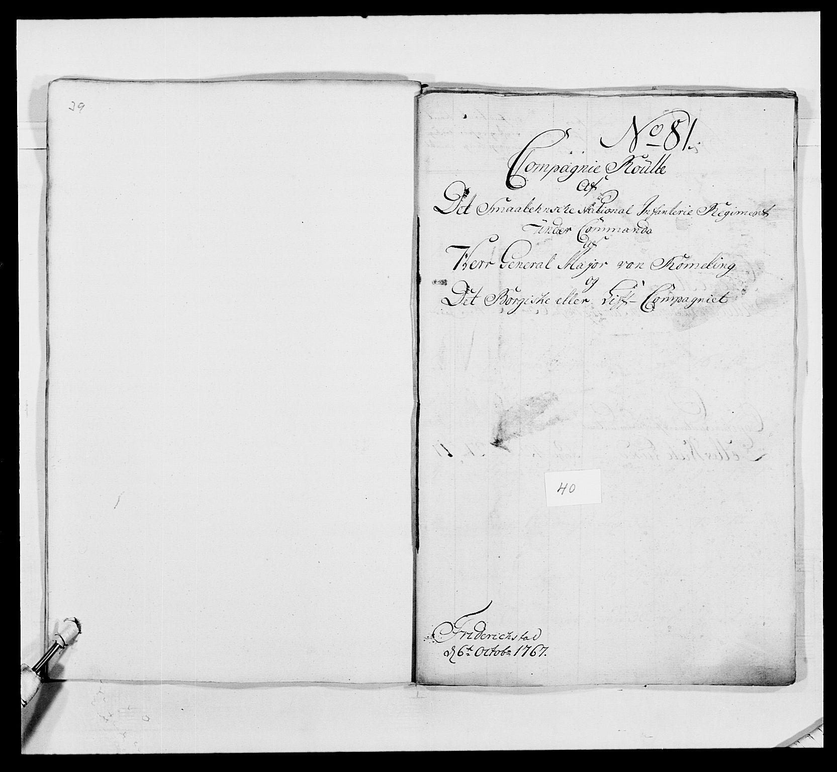 RA, Kommanderende general (KG I) med Det norske krigsdirektorium, E/Ea/L0496: 1. Smålenske regiment, 1765-1767, s. 764