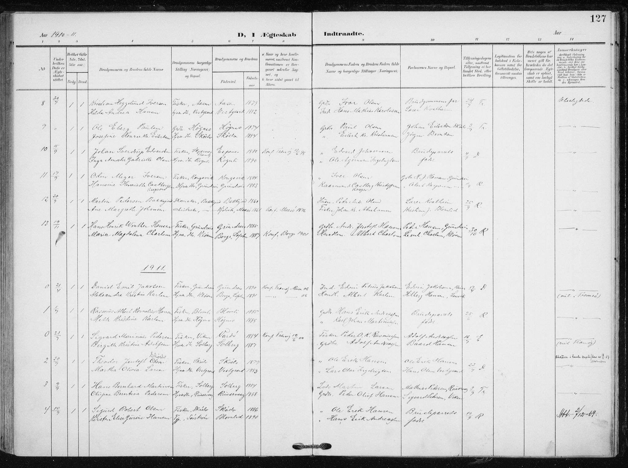 SATØ, Tranøy sokneprestkontor, I/Ia/Iaa/L0012kirke: Ministerialbok nr. 12, 1905-1918, s. 127