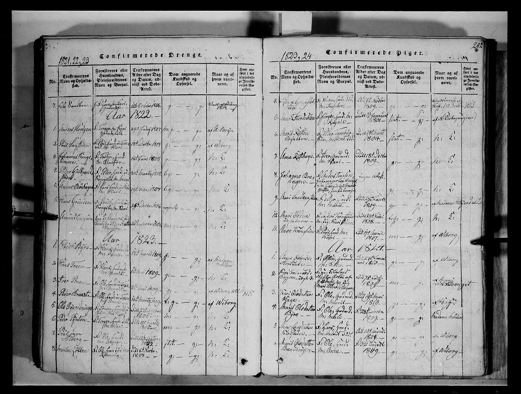 SAH, Fron prestekontor, H/Ha/Hab/L0004: Klokkerbok nr. 4, 1816-1850, s. 242