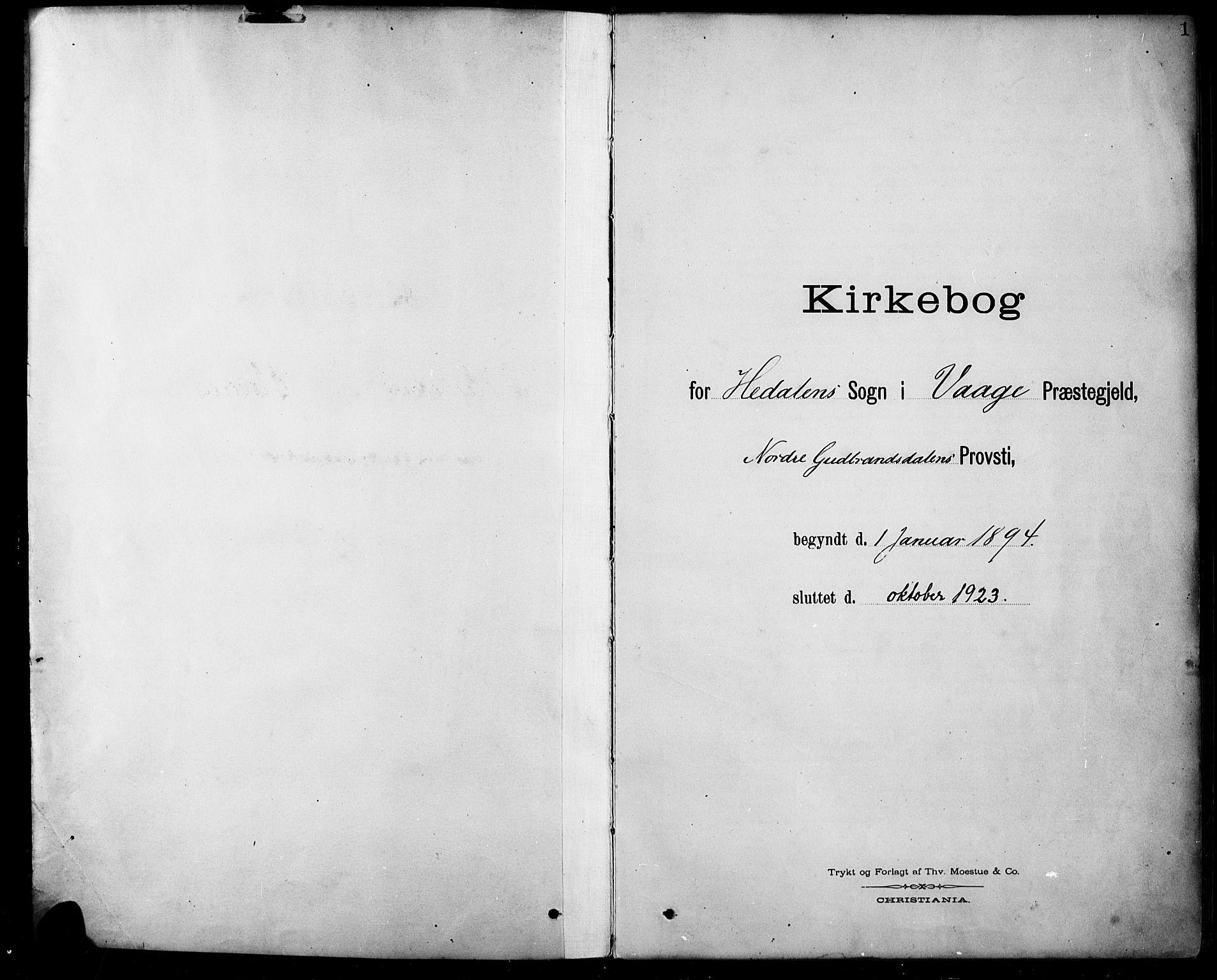 SAH, Sel prestekontor, Klokkerbok nr. 5, 1894-1923, s. 1