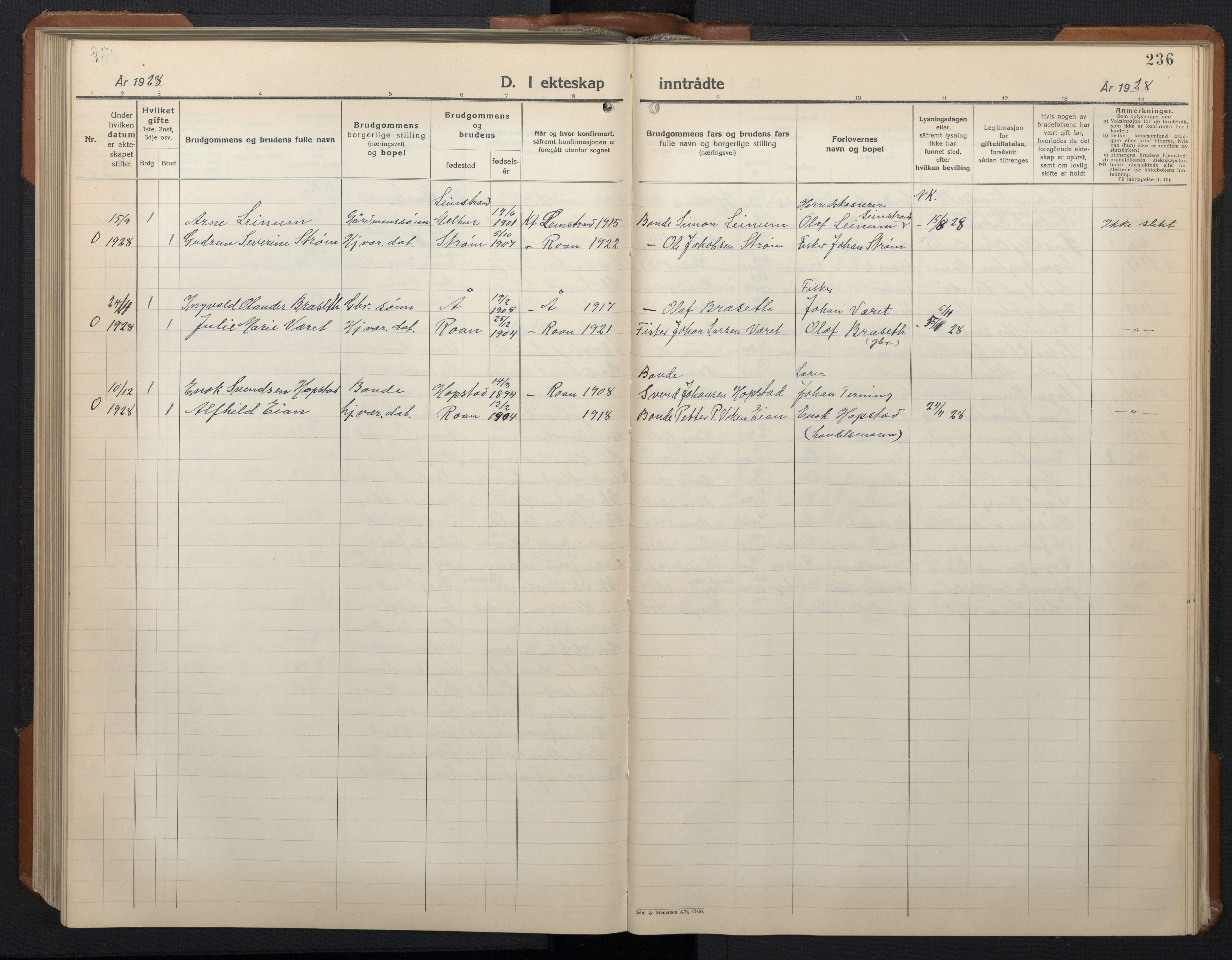 SAT, Ministerialprotokoller, klokkerbøker og fødselsregistre - Sør-Trøndelag, 657/L0718: Klokkerbok nr. 657C05, 1923-1948, s. 236
