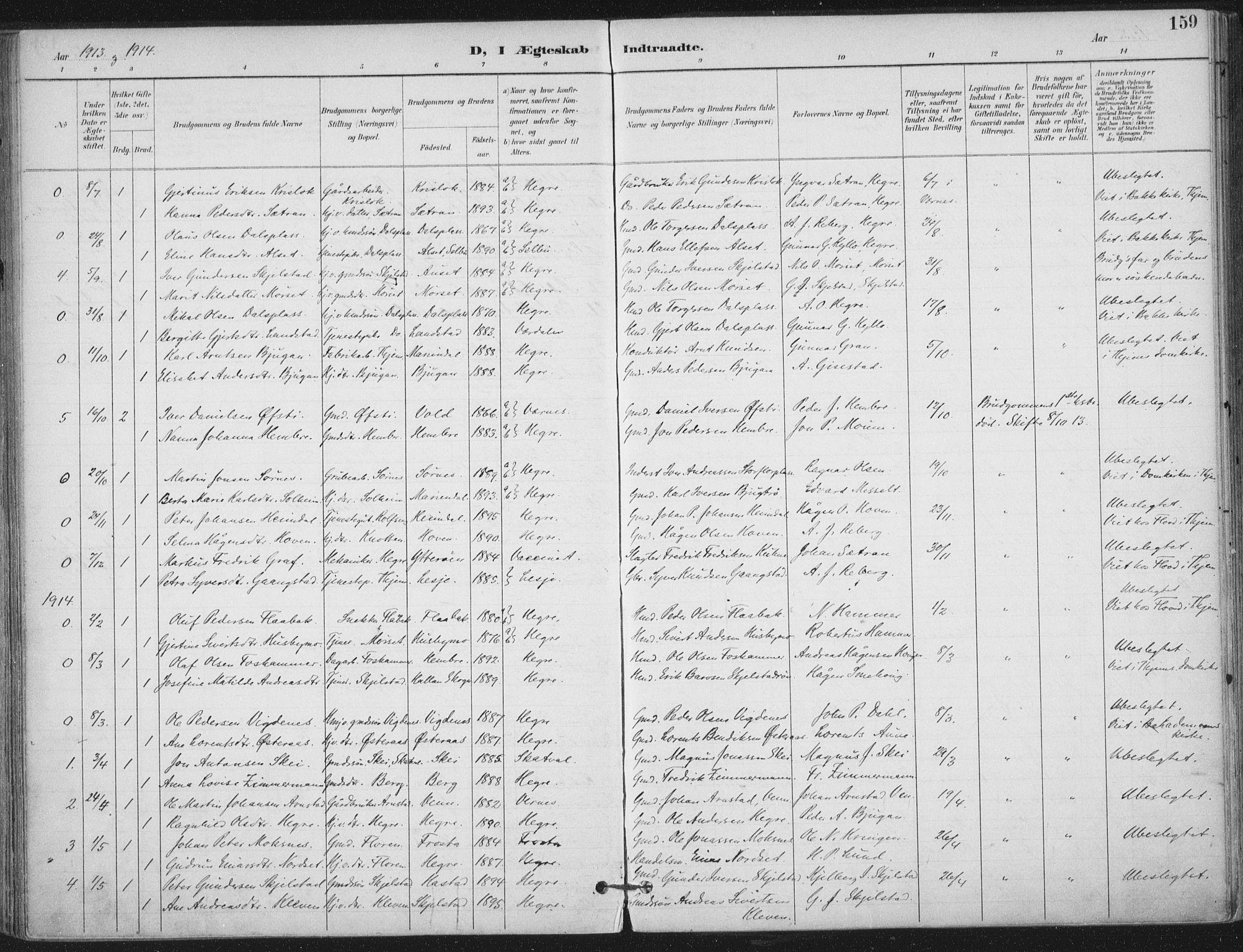 SAT, Ministerialprotokoller, klokkerbøker og fødselsregistre - Nord-Trøndelag, 703/L0031: Ministerialbok nr. 703A04, 1893-1914, s. 159