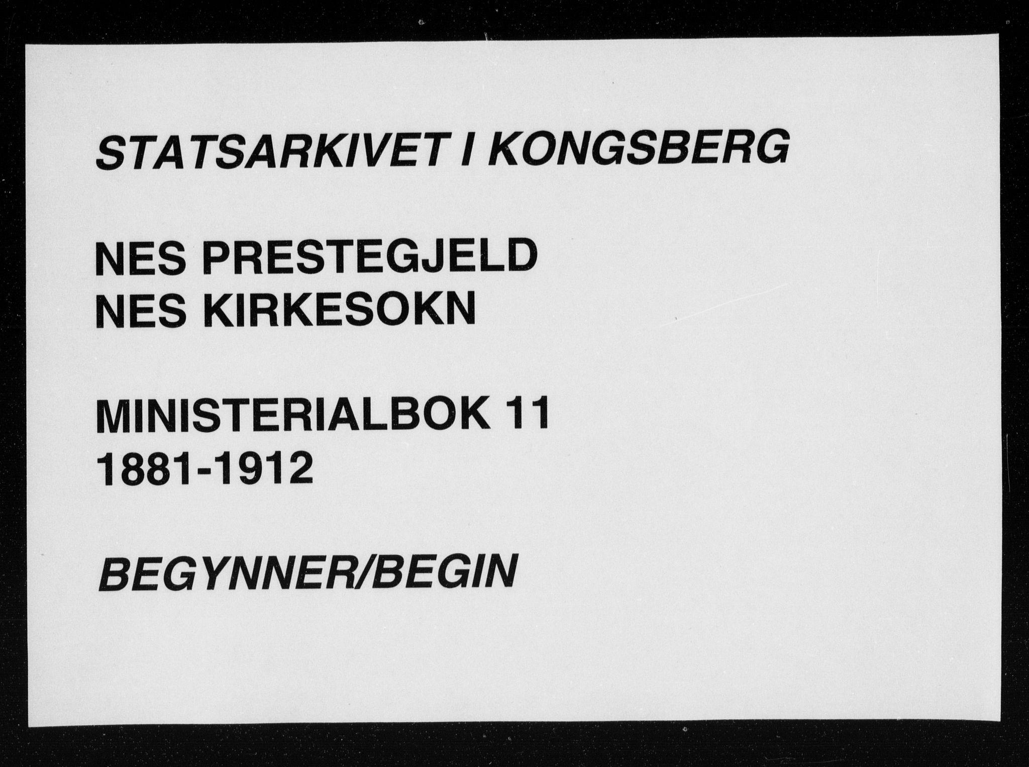 SAKO, Nes kirkebøker, F/Fa/L0011: Ministerialbok nr. 11, 1881-1912