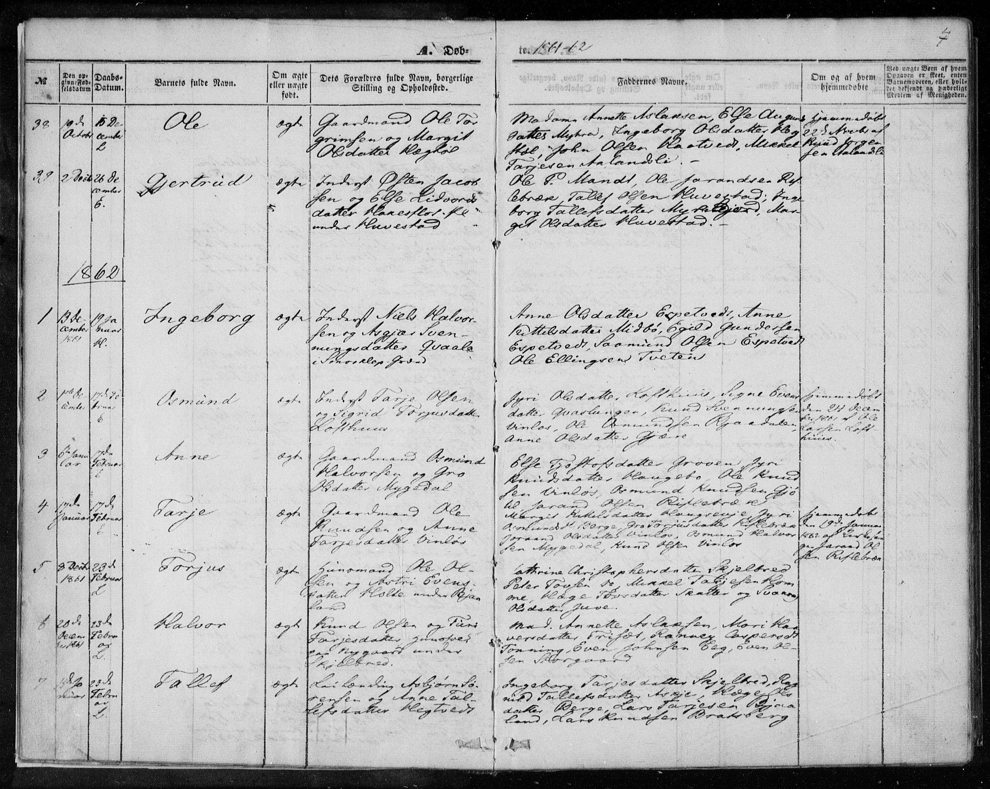 SAKO, Lårdal kirkebøker, F/Fa/L0006: Ministerialbok nr. I 6, 1861-1886, s. 7