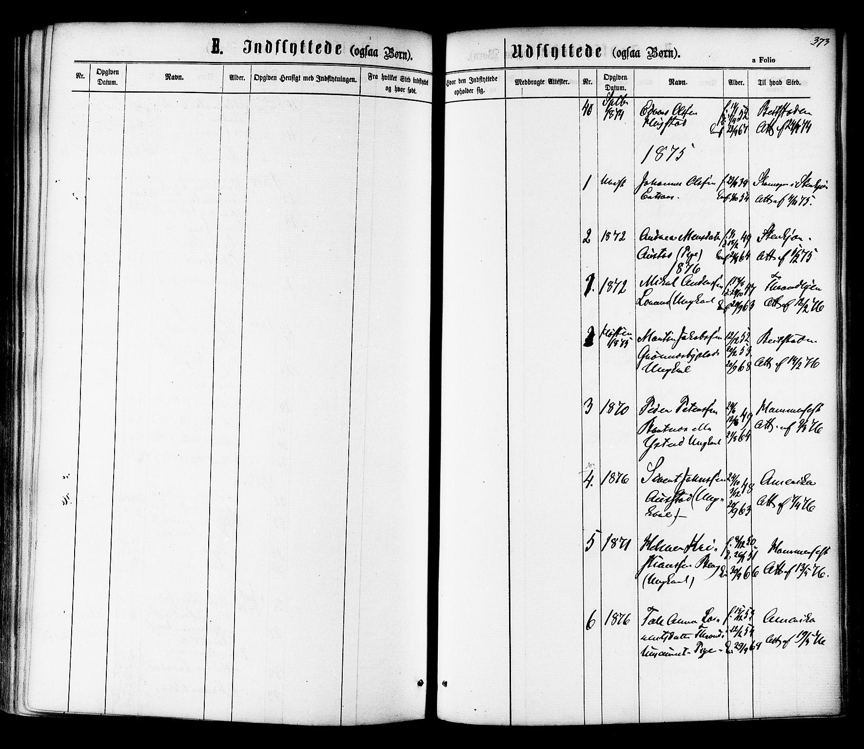 SAT, Ministerialprotokoller, klokkerbøker og fødselsregistre - Nord-Trøndelag, 730/L0284: Ministerialbok nr. 730A09, 1866-1878, s. 373