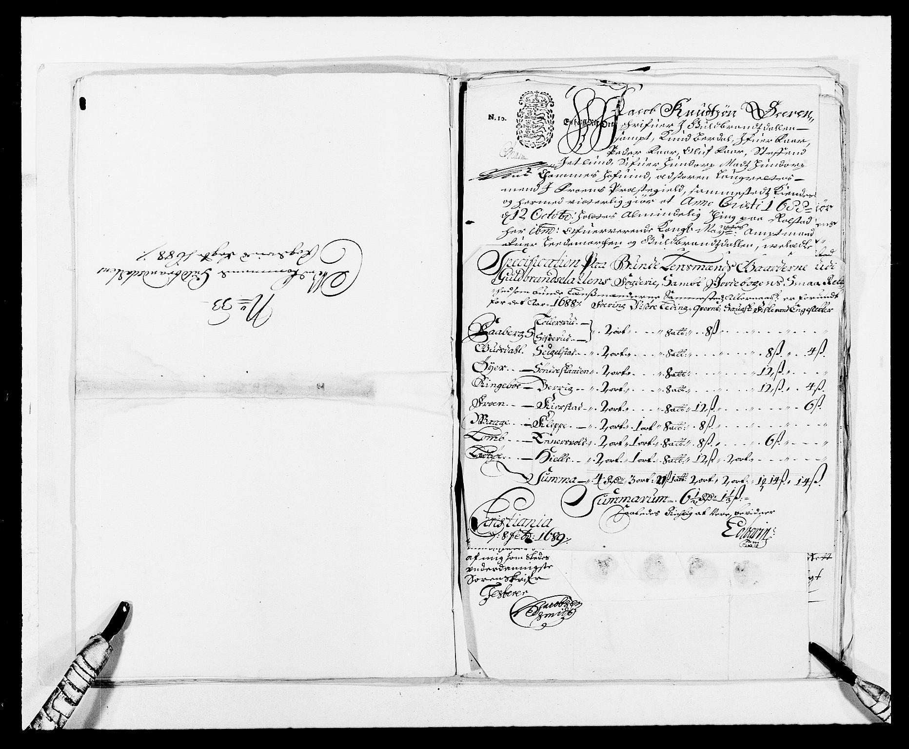 RA, Rentekammeret inntil 1814, Reviderte regnskaper, Fogderegnskap, R17/L1163: Fogderegnskap Gudbrandsdal, 1682-1689, s. 336