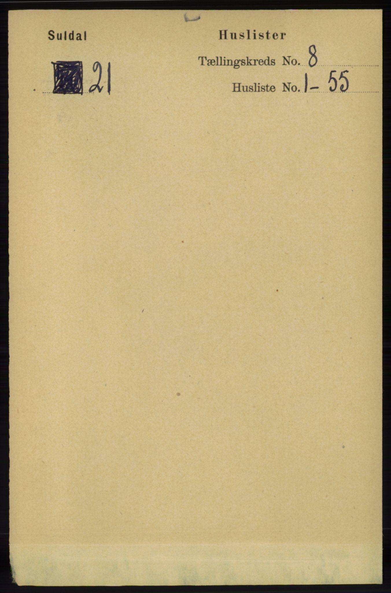RA, Folketelling 1891 for 1134 Suldal herred, 1891, s. 2237