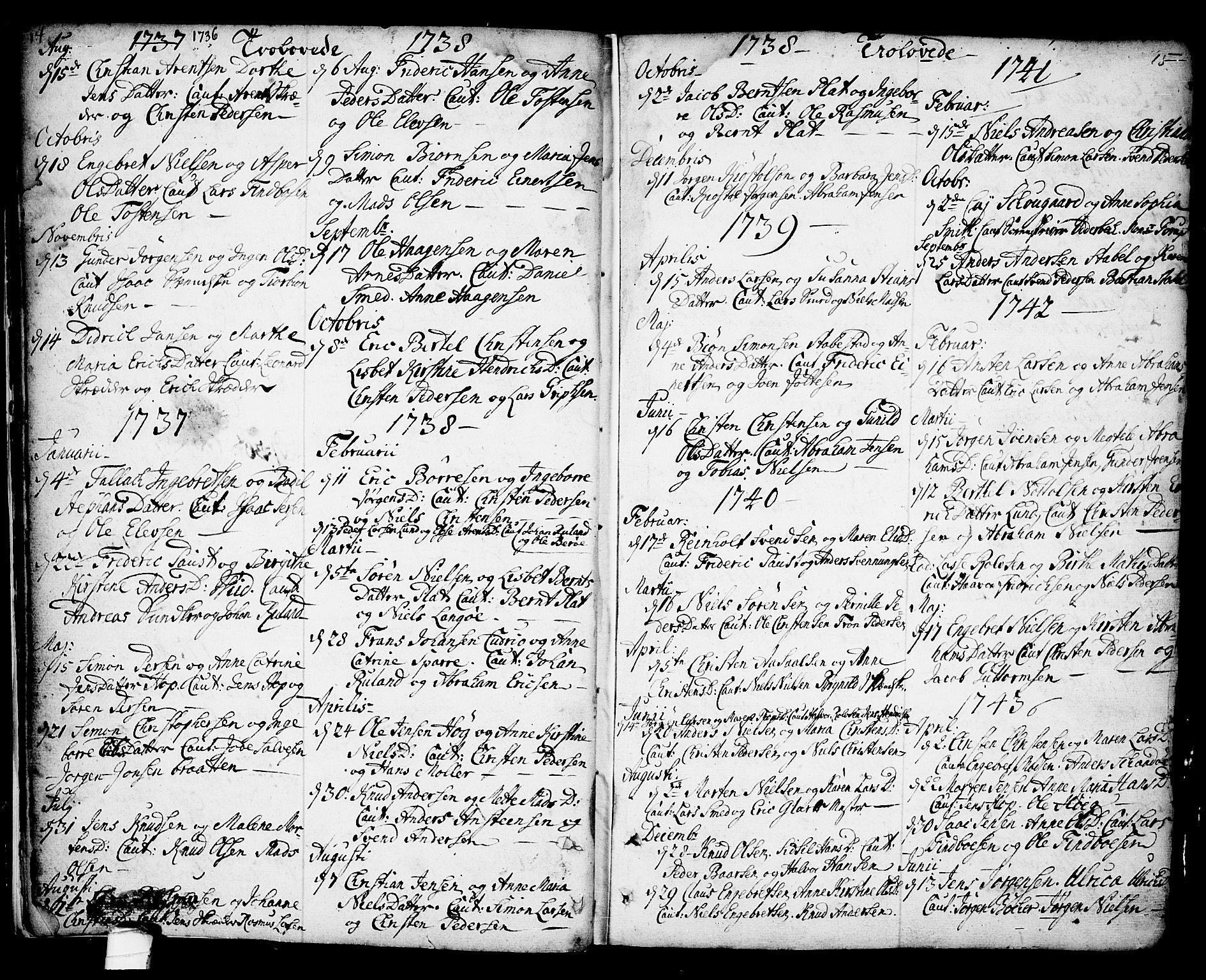 SAKO, Kragerø kirkebøker, F/Fa/L0001: Ministerialbok nr. 1, 1702-1766, s. 14-15