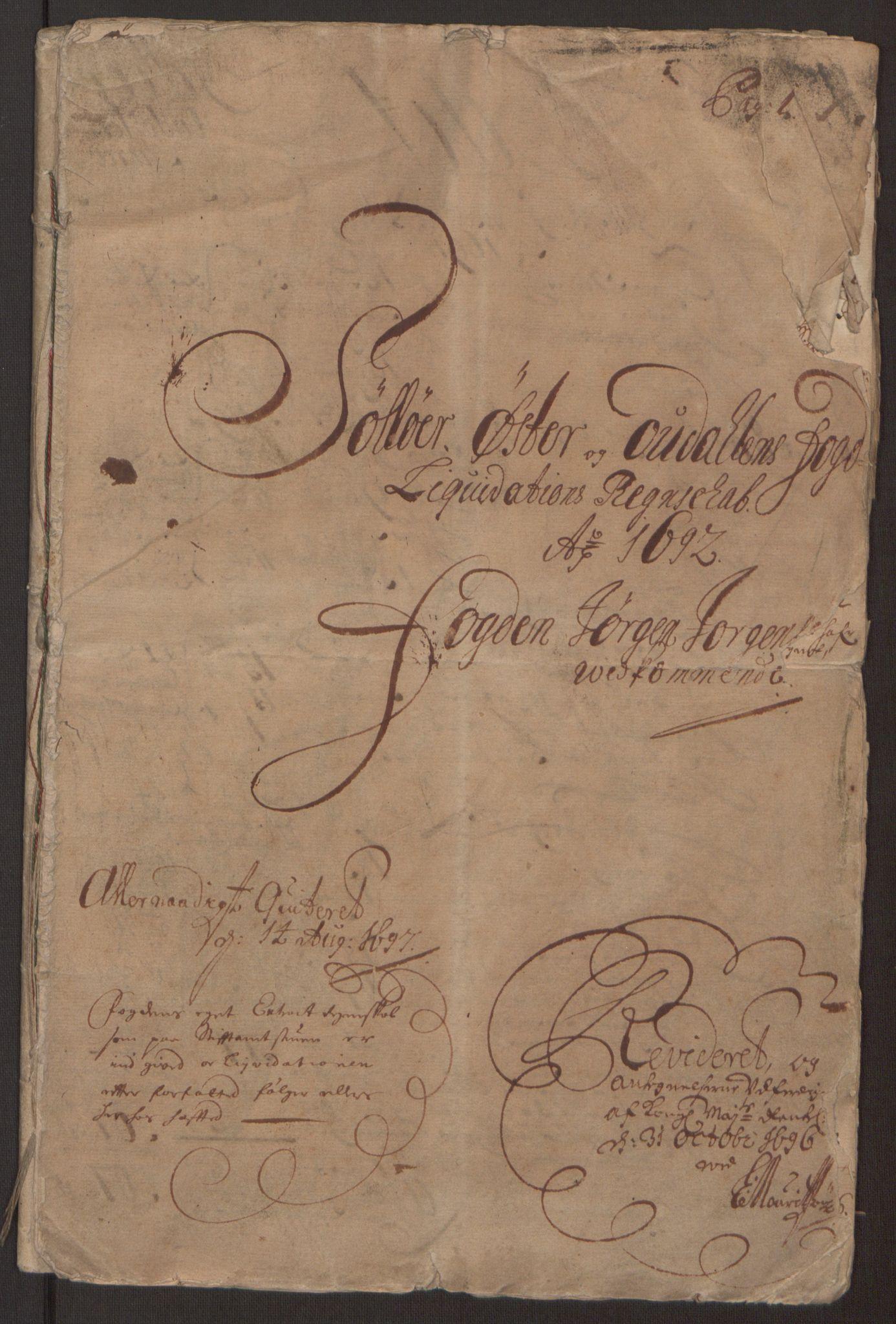 RA, Rentekammeret inntil 1814, Reviderte regnskaper, Fogderegnskap, R13/L0830: Fogderegnskap Solør, Odal og Østerdal, 1692, s. 4