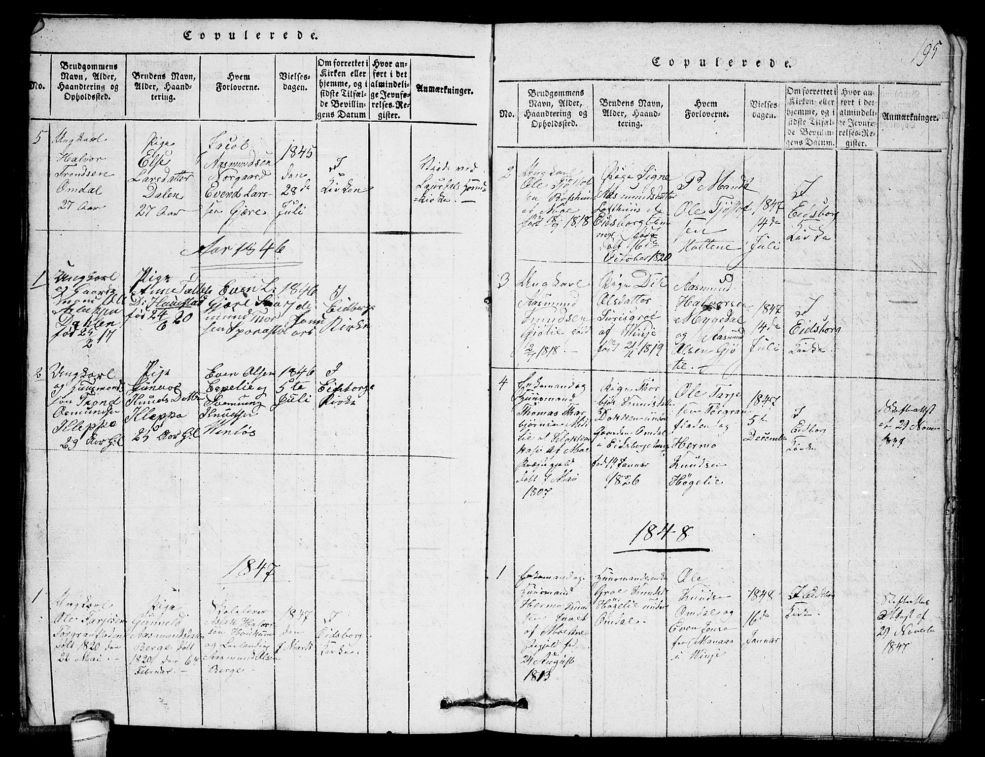 SAKO, Lårdal kirkebøker, G/Gb/L0001: Klokkerbok nr. II 1, 1815-1865, s. 195
