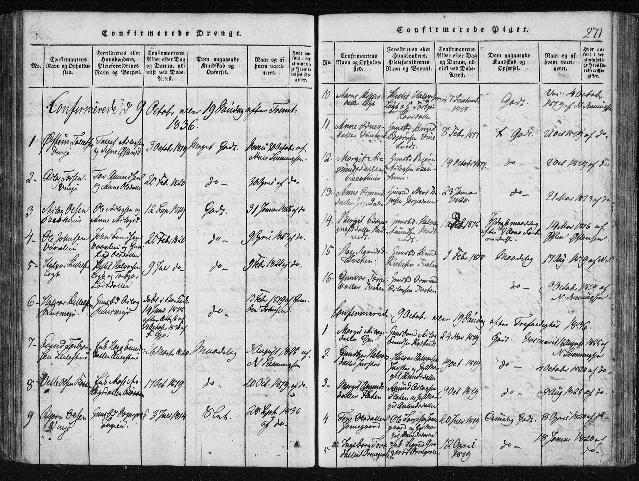 SAKO, Vinje kirkebøker, F/Fa/L0003: Ministerialbok nr. I 3, 1814-1843, s. 271