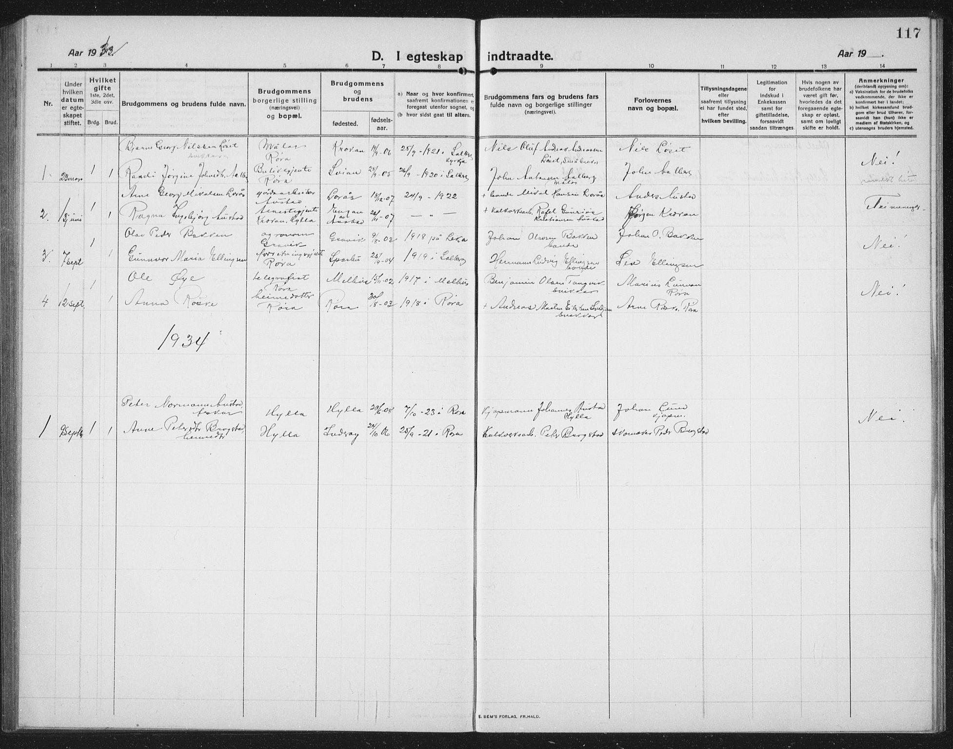 SAT, Ministerialprotokoller, klokkerbøker og fødselsregistre - Nord-Trøndelag, 731/L0312: Klokkerbok nr. 731C03, 1911-1935, s. 117