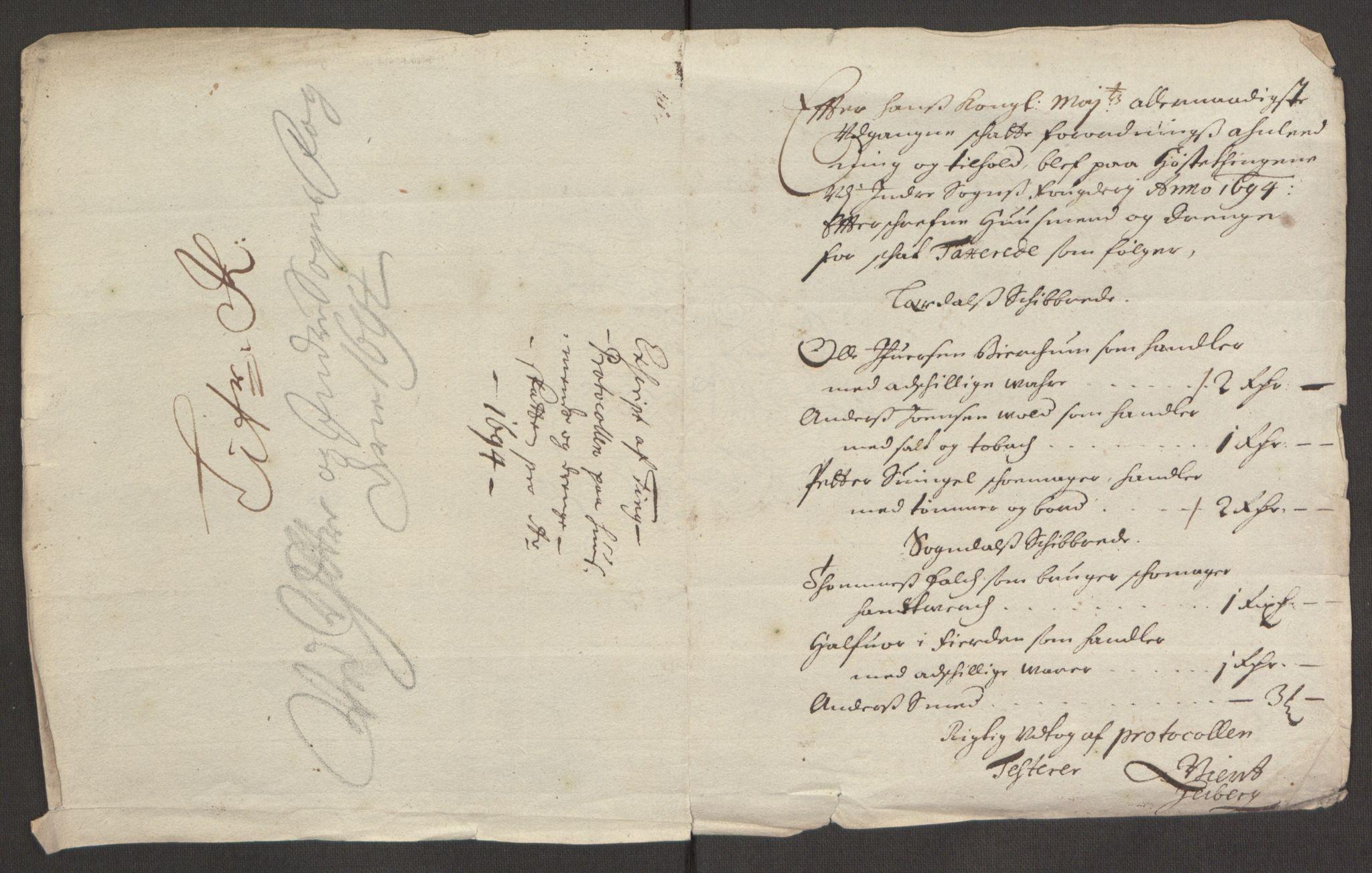RA, Rentekammeret inntil 1814, Reviderte regnskaper, Fogderegnskap, R52/L3307: Fogderegnskap Sogn, 1693-1694, s. 462