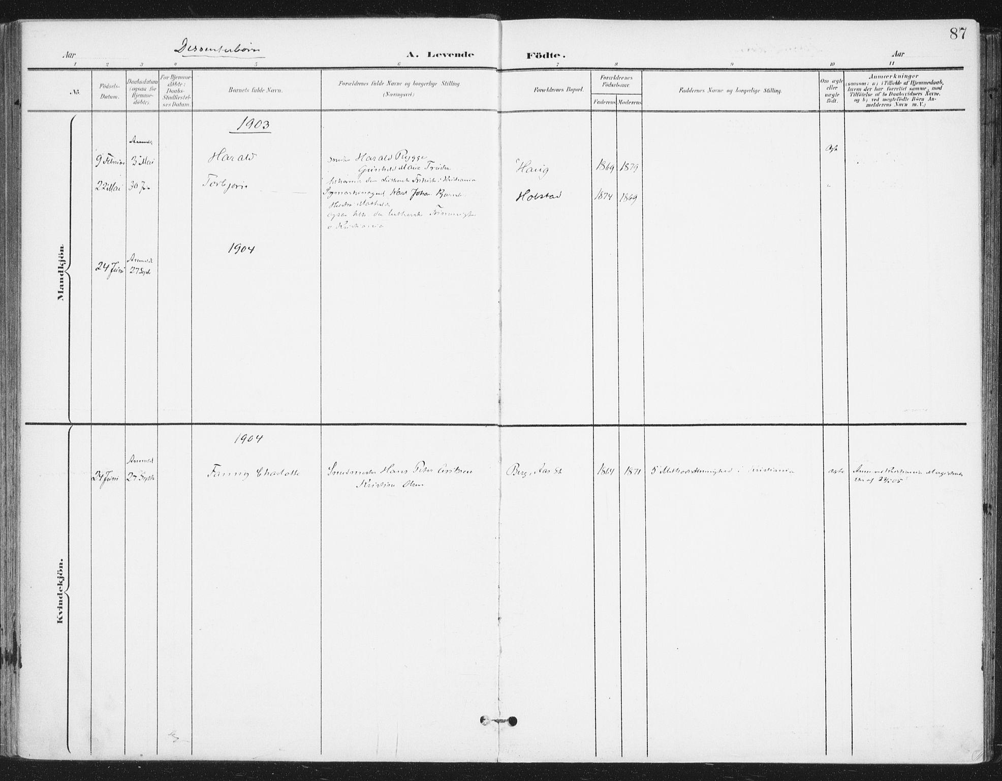 SAO, Ås prestekontor Kirkebøker, F/Fa/L0010: Ministerialbok nr. I 10, 1900-1918, s. 87