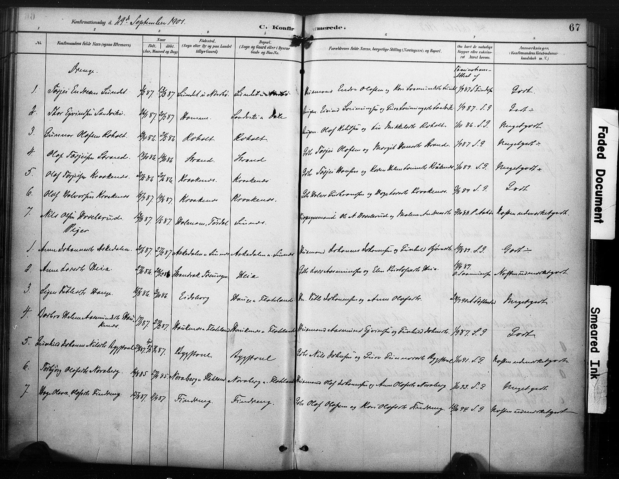 SAKO, Kviteseid kirkebøker, F/Fc/L0002: Ministerialbok nr. III 2, 1882-1908, s. 67