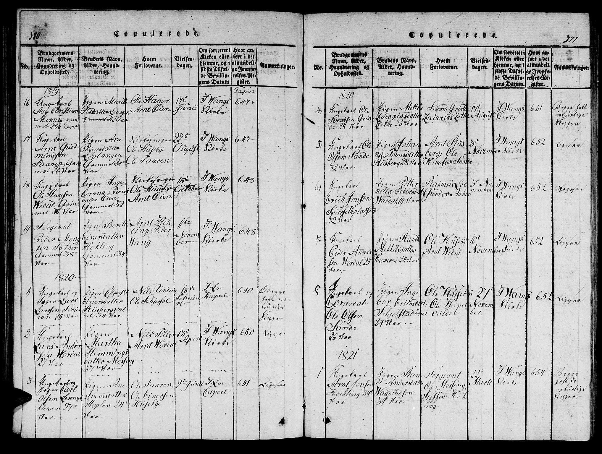 SAT, Ministerialprotokoller, klokkerbøker og fødselsregistre - Nord-Trøndelag, 714/L0132: Klokkerbok nr. 714C01, 1817-1824, s. 370-371