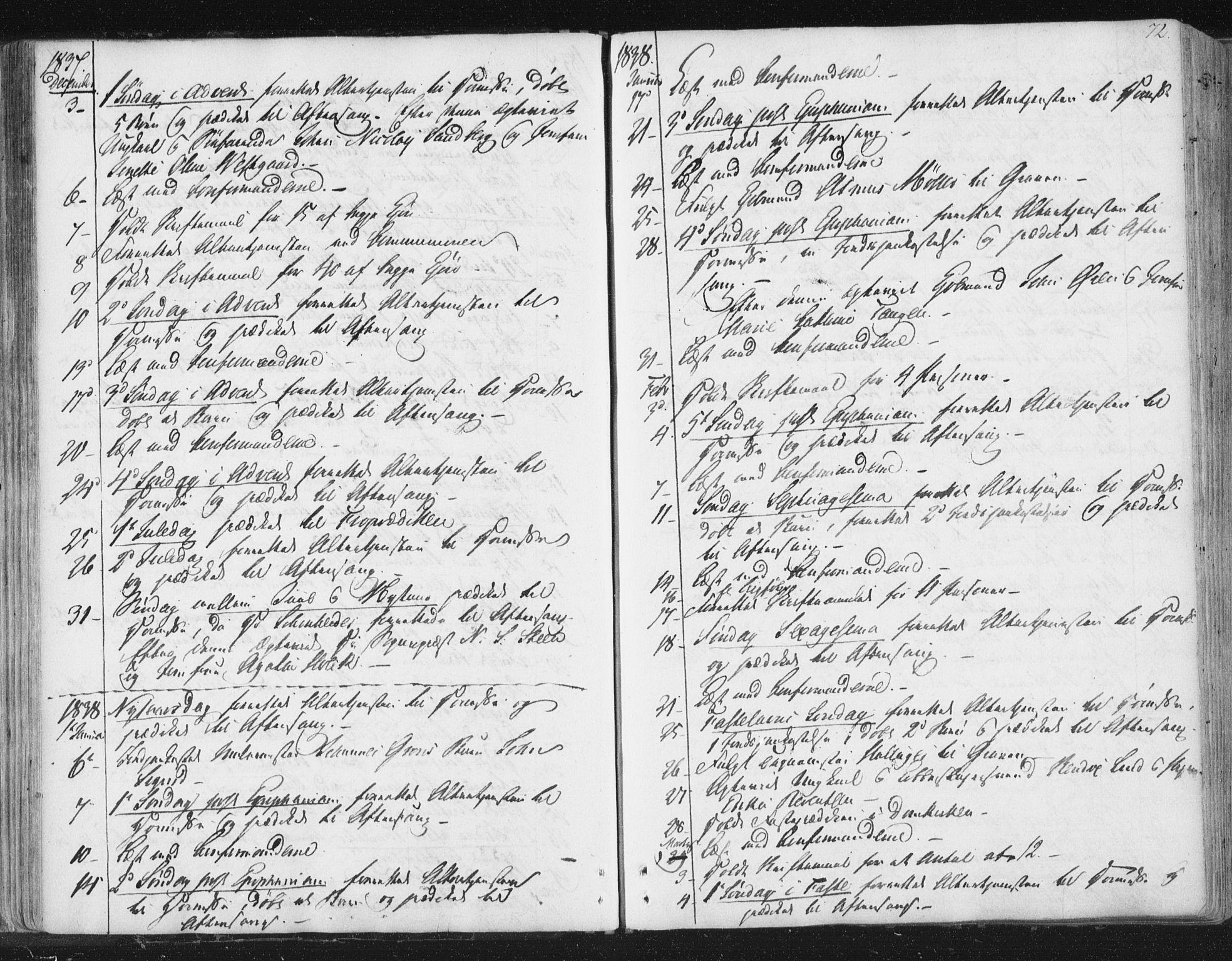 SAT, Ministerialprotokoller, klokkerbøker og fødselsregistre - Sør-Trøndelag, 602/L0127: Residerende kapellans bok nr. 602B01, 1821-1875, s. 72